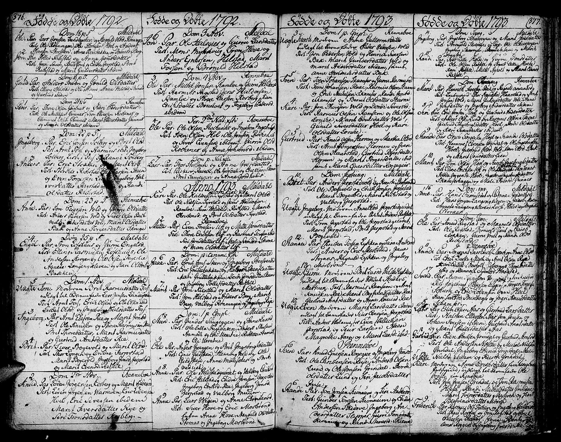 SAT, Ministerialprotokoller, klokkerbøker og fødselsregistre - Sør-Trøndelag, 672/L0852: Ministerialbok nr. 672A05, 1776-1815, s. 376-377