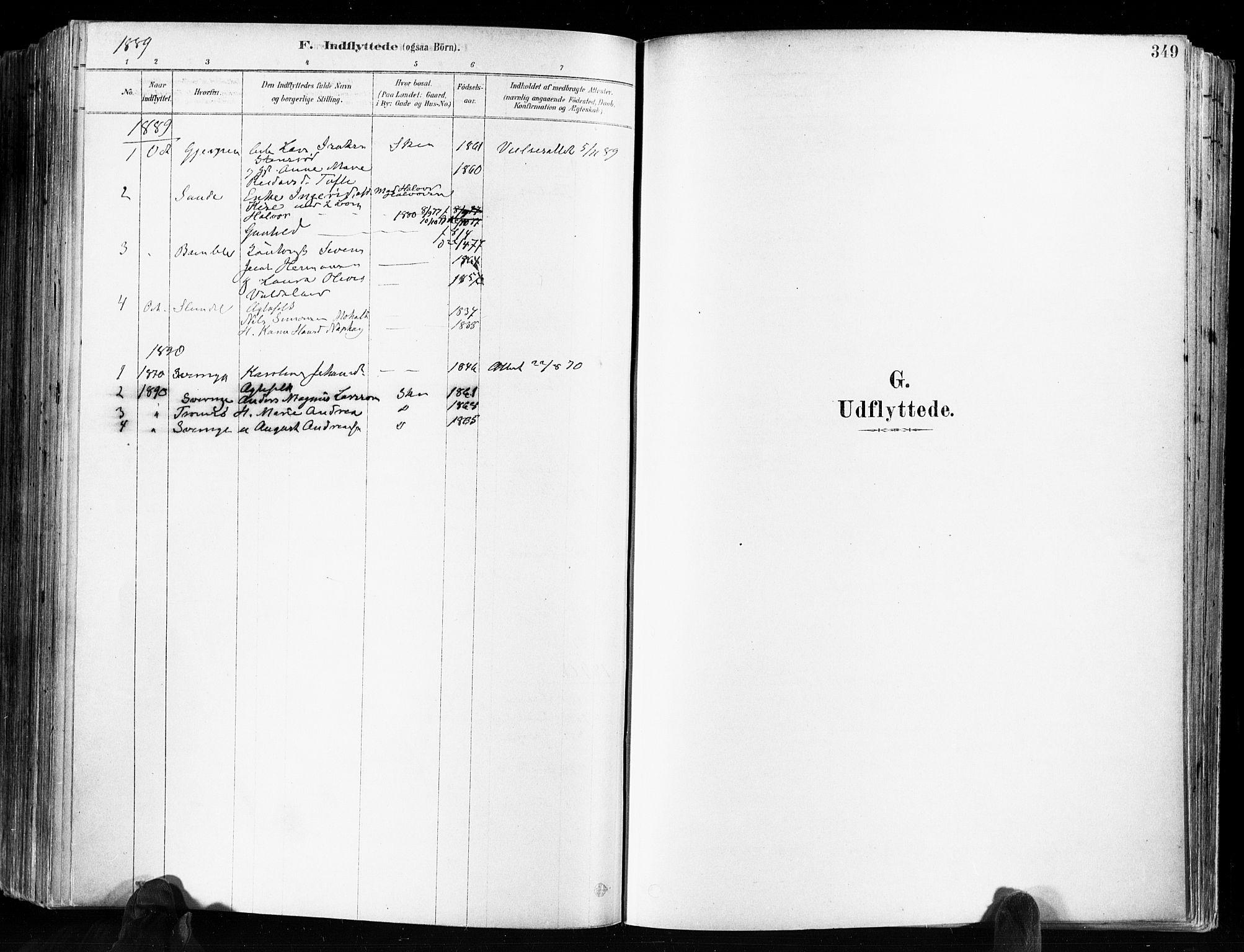 SAKO, Skien kirkebøker, F/Fa/L0009: Ministerialbok nr. 9, 1878-1890, s. 349