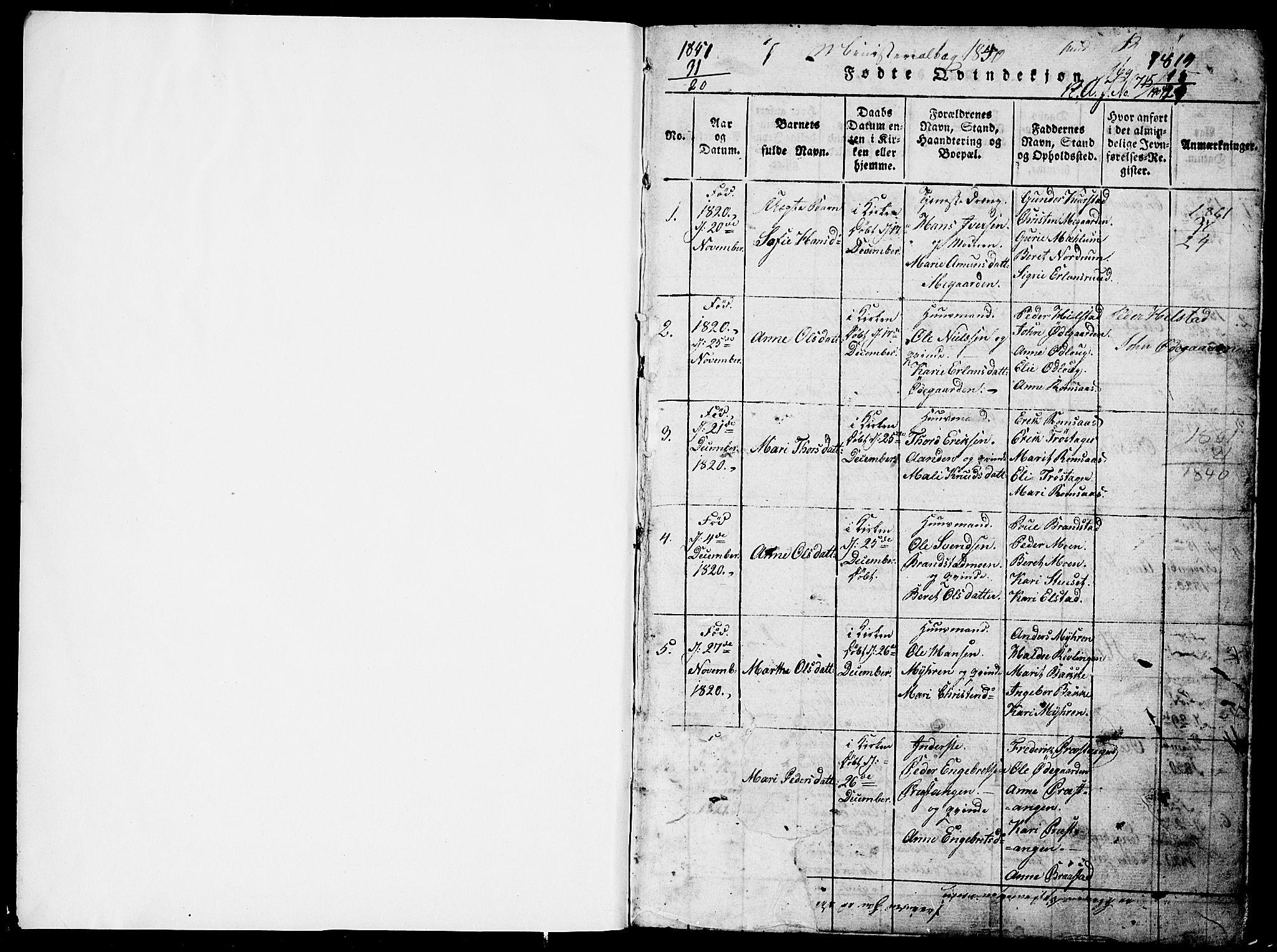 SAH, Ringebu prestekontor, Klokkerbok nr. 1, 1821-1839, s. 0-1