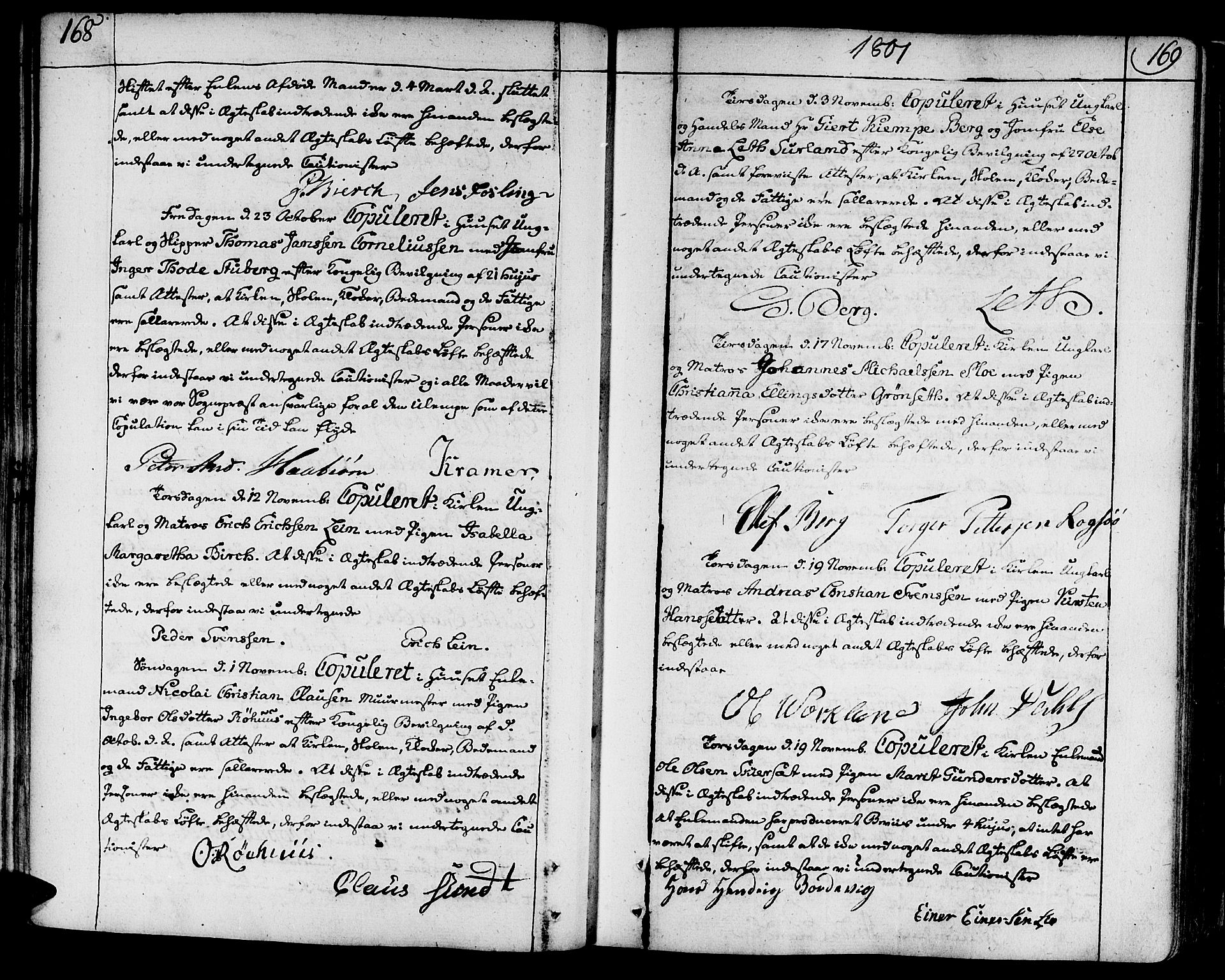 SAT, Ministerialprotokoller, klokkerbøker og fødselsregistre - Sør-Trøndelag, 602/L0105: Ministerialbok nr. 602A03, 1774-1814, s. 168-169