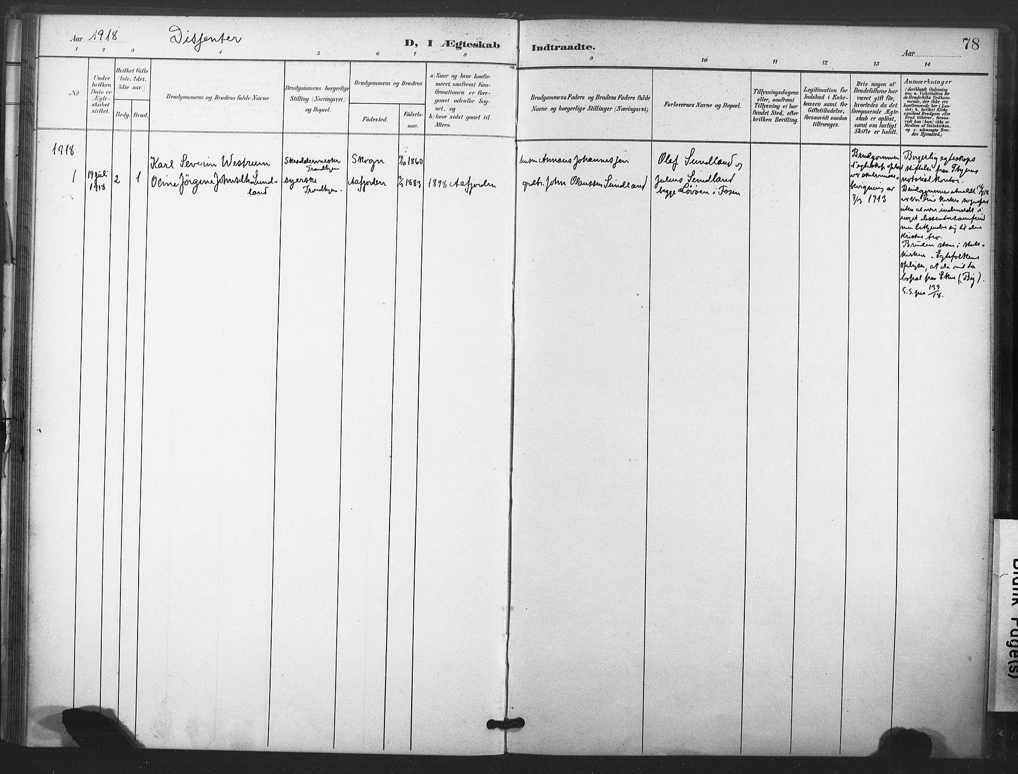 SAT, Ministerialprotokoller, klokkerbøker og fødselsregistre - Nord-Trøndelag, 719/L0179: Ministerialbok nr. 719A02, 1901-1923, s. 78