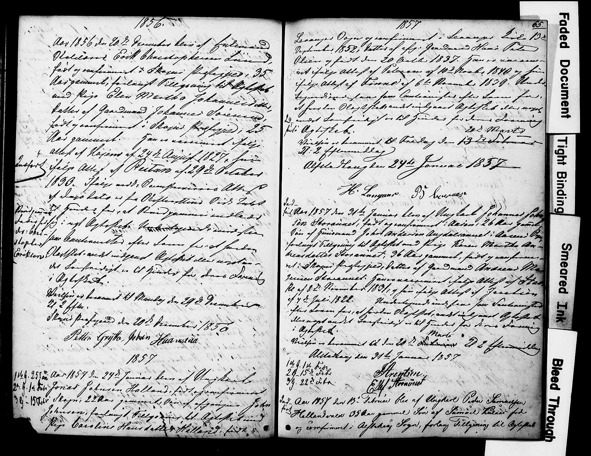 SAT, Ministerialprotokoller, klokkerbøker og fødselsregistre - Nord-Trøndelag, 717/L0161: Forlovererklæringer nr. 717A11, 1850-1895, s. 65