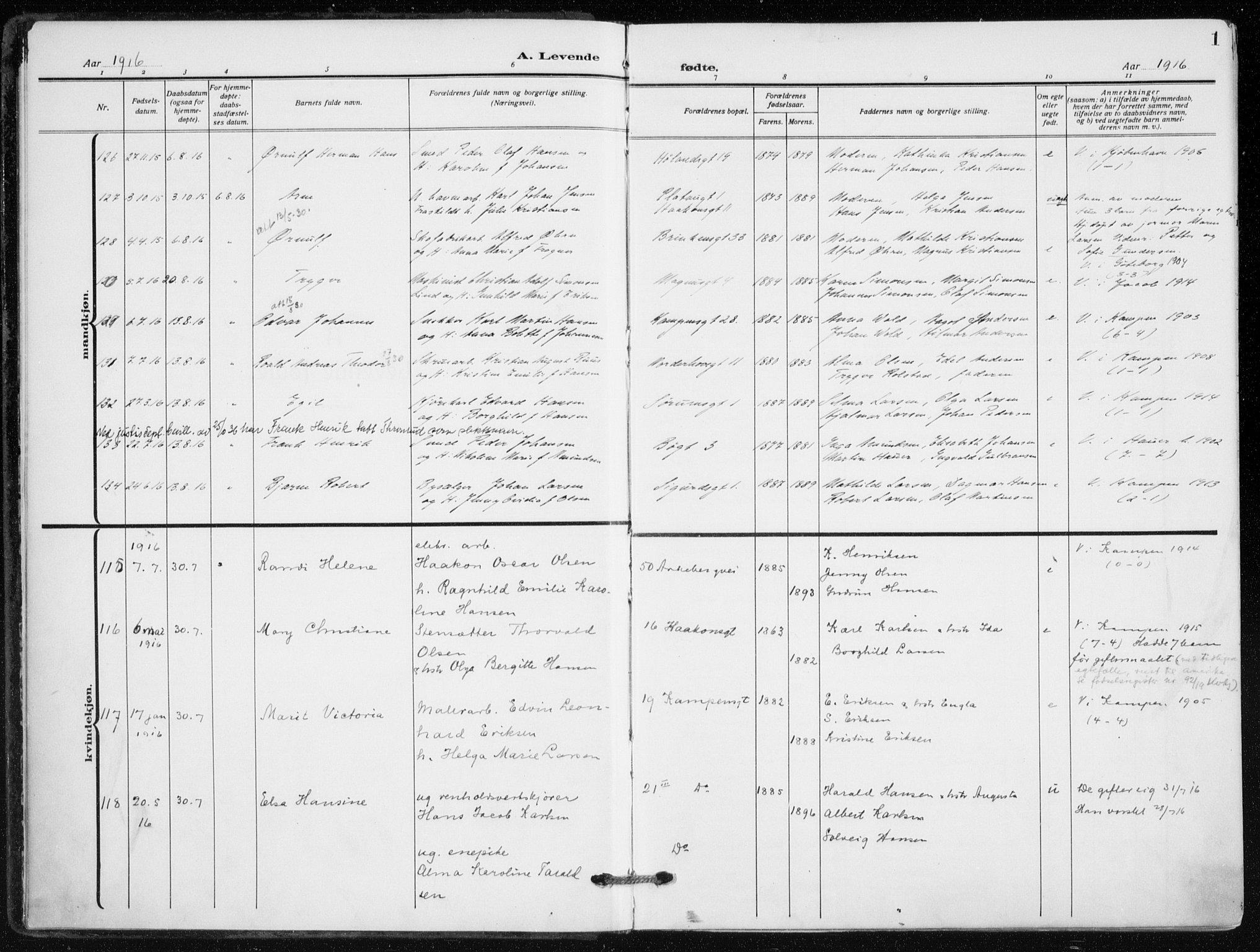 SAO, Kampen prestekontor Kirkebøker, F/Fa/L0012: Ministerialbok nr. I 12, 1916-1921, s. 1