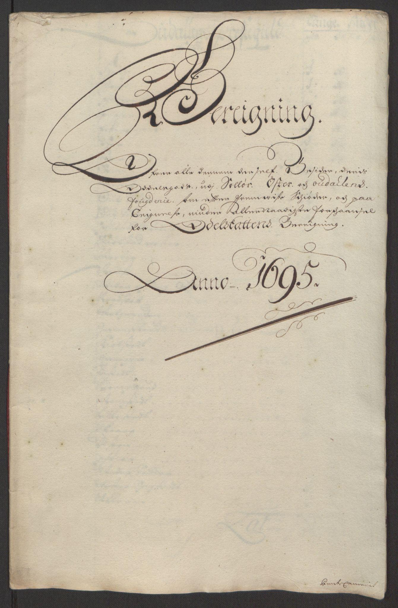 RA, Rentekammeret inntil 1814, Reviderte regnskaper, Fogderegnskap, R13/L0833: Fogderegnskap Solør, Odal og Østerdal, 1695, s. 294
