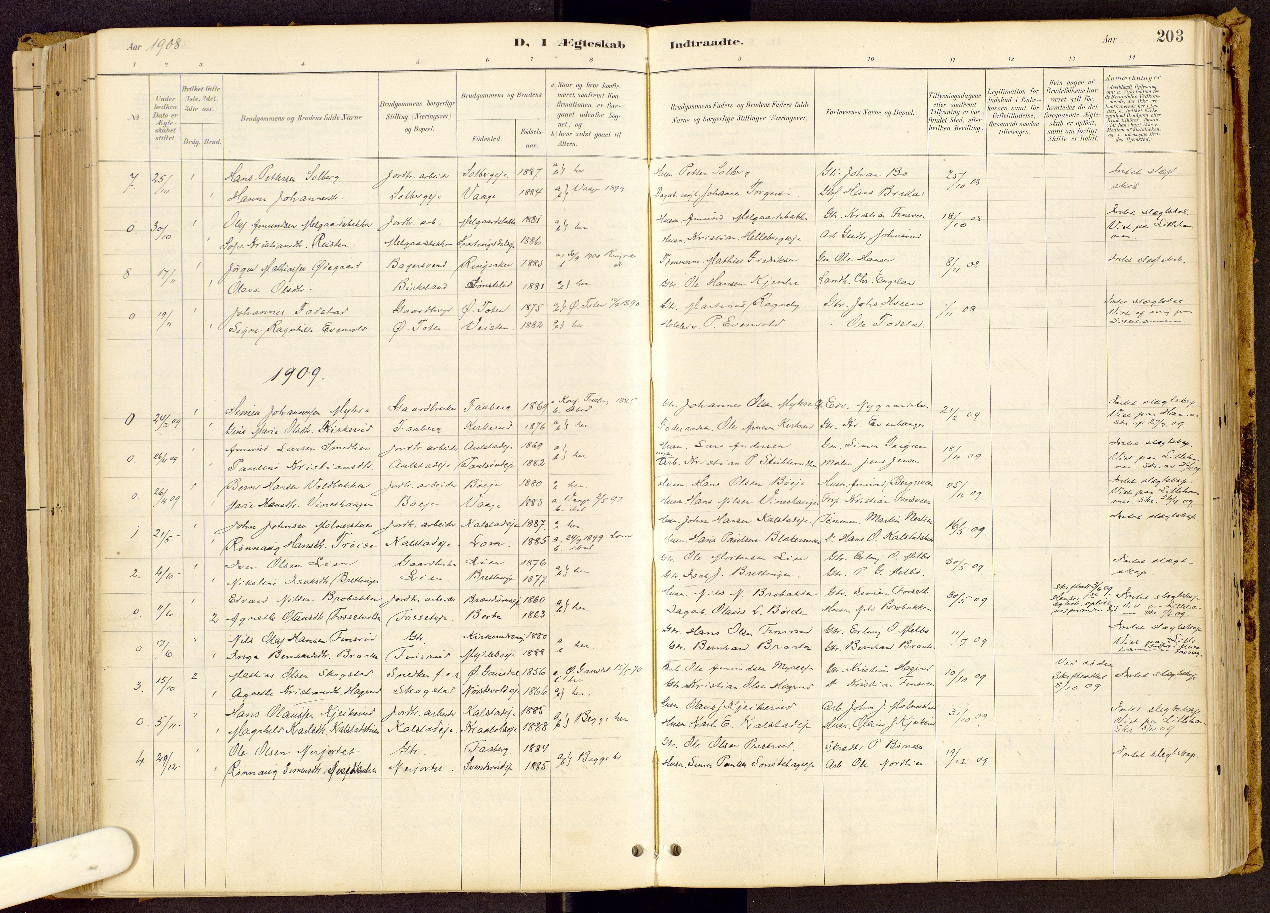 SAH, Vestre Gausdal prestekontor, Ministerialbok nr. 1, 1887-1914, s. 203