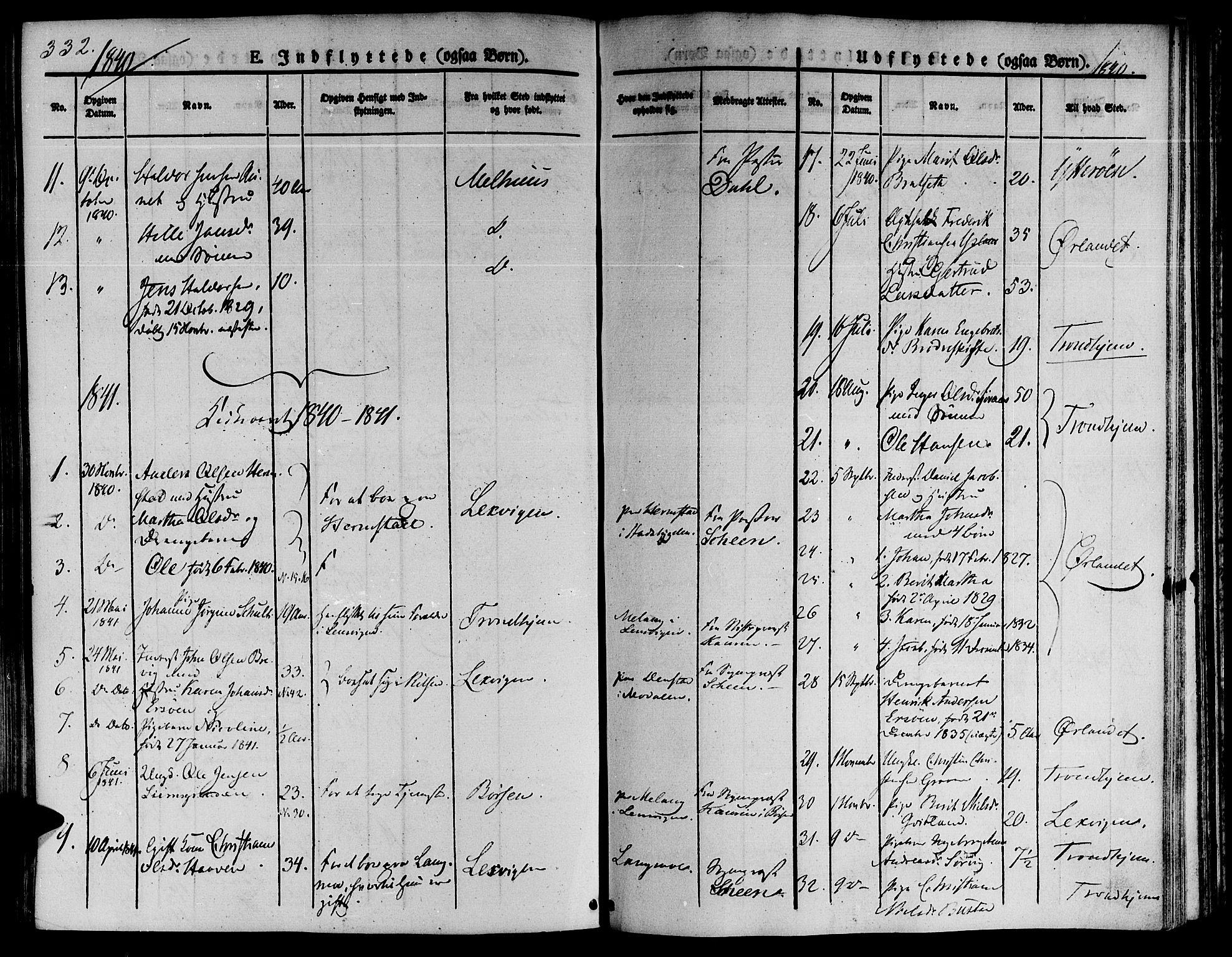 SAT, Ministerialprotokoller, klokkerbøker og fødselsregistre - Sør-Trøndelag, 646/L0610: Ministerialbok nr. 646A08, 1837-1847, s. 332