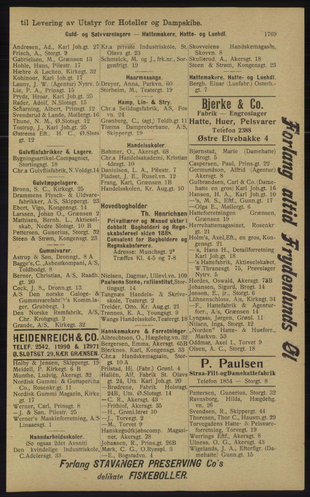 RA, Kristiania adressebok (publikasjon)*, 1913, s. 1769