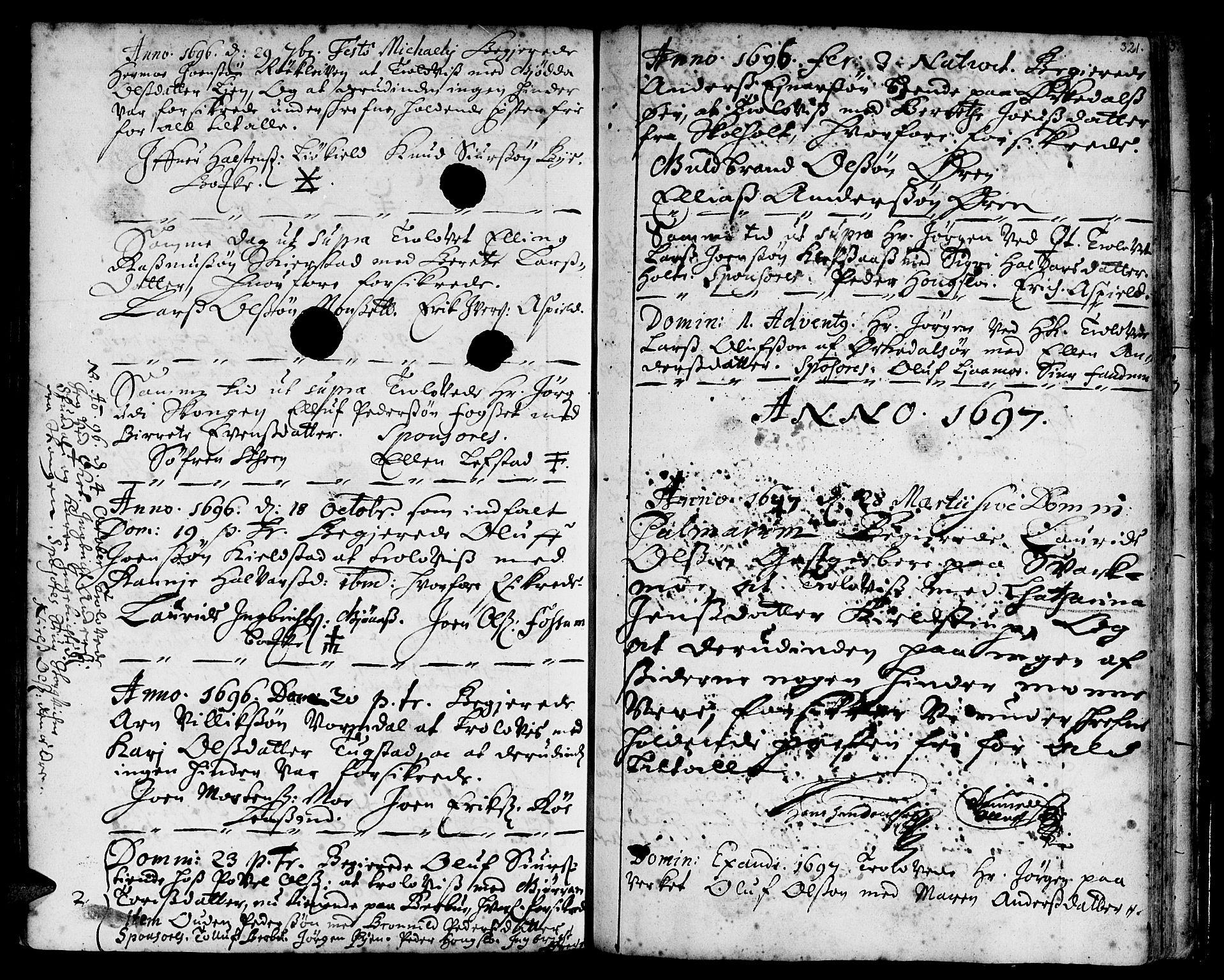 SAT, Ministerialprotokoller, klokkerbøker og fødselsregistre - Sør-Trøndelag, 668/L0801: Ministerialbok nr. 668A01, 1695-1716, s. 320-321