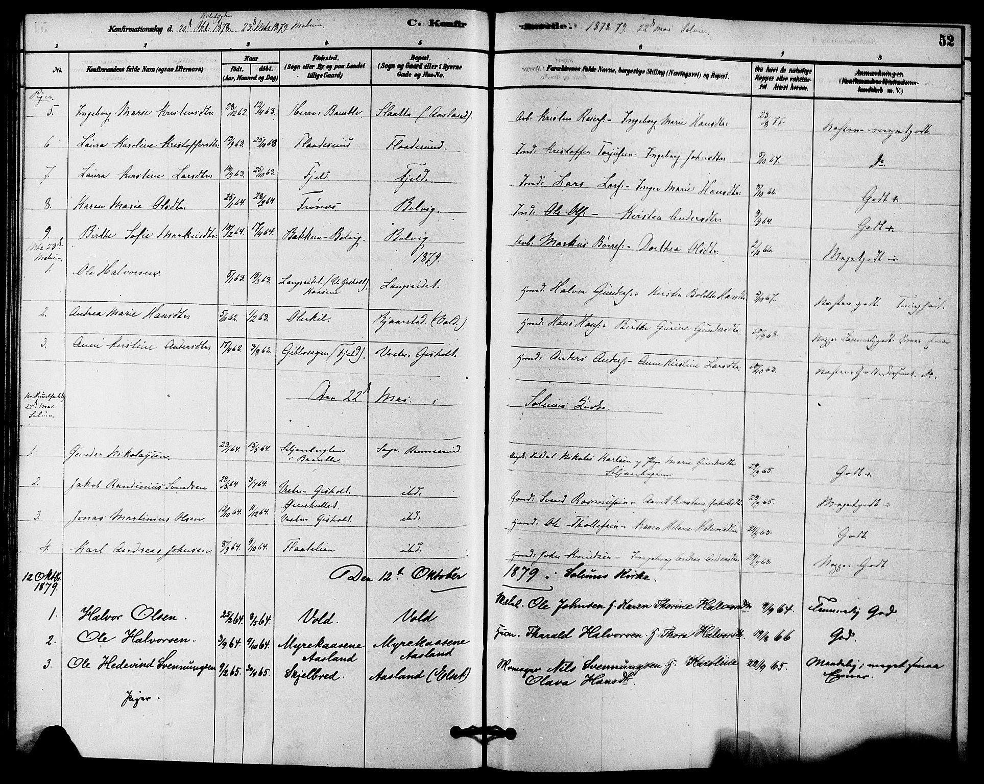 SAKO, Solum kirkebøker, F/Fc/L0001: Ministerialbok nr. III 1, 1877-1891, s. 52