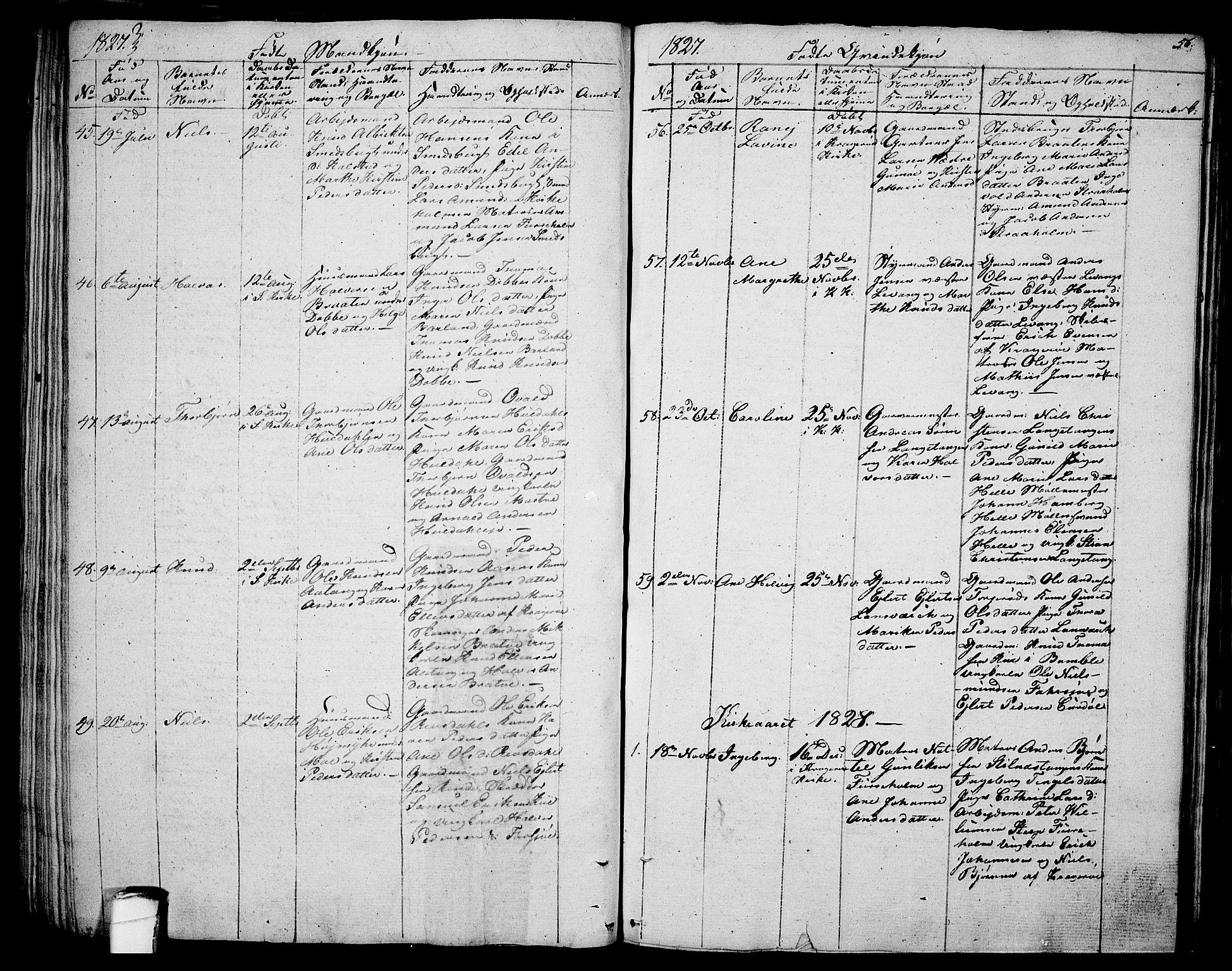 SAKO, Sannidal kirkebøker, F/Fa/L0005: Ministerialbok nr. 5, 1823-1830, s. 56