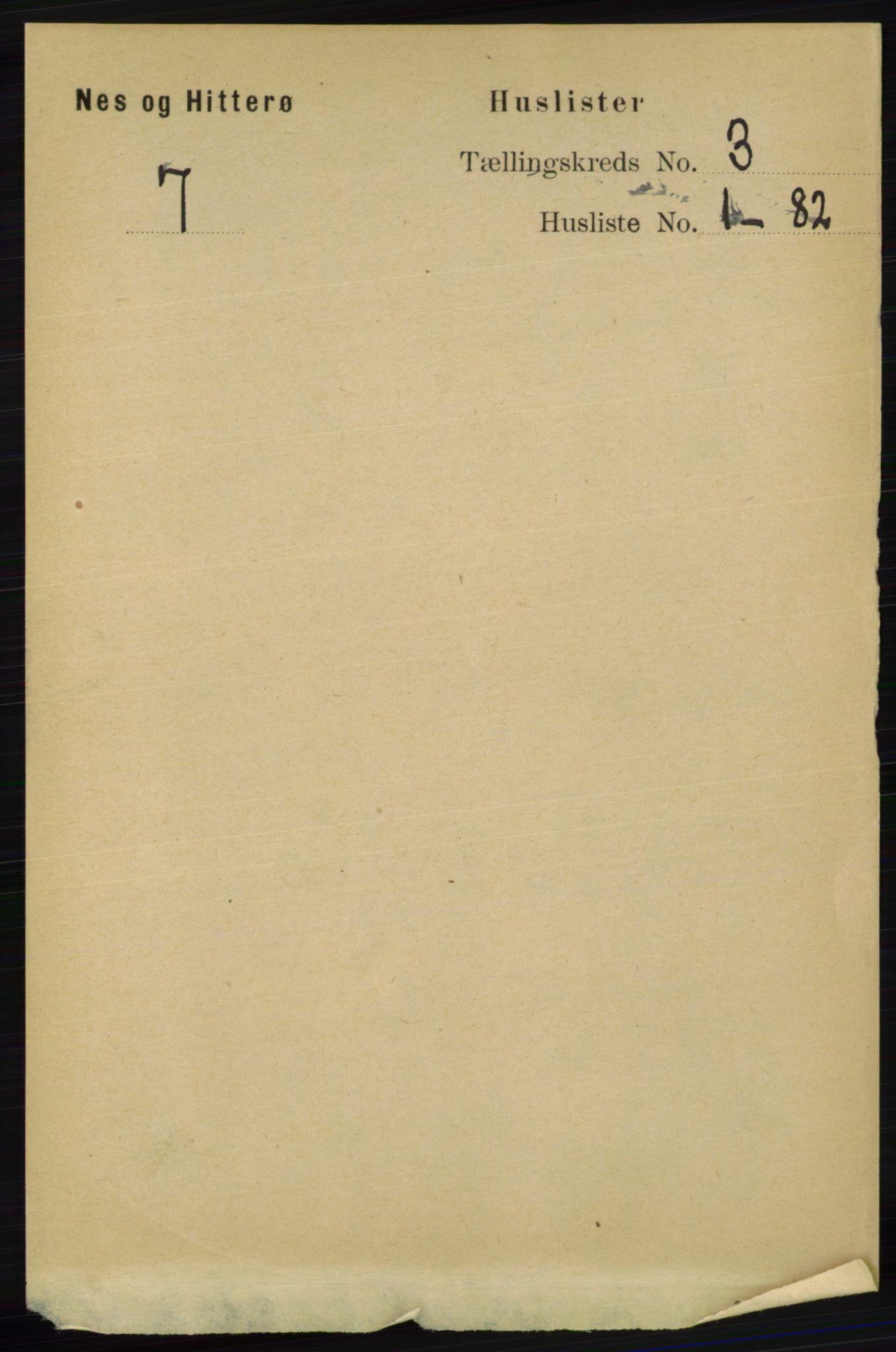 RA, Folketelling 1891 for 1043 Hidra og Nes herred, 1891, s. 833