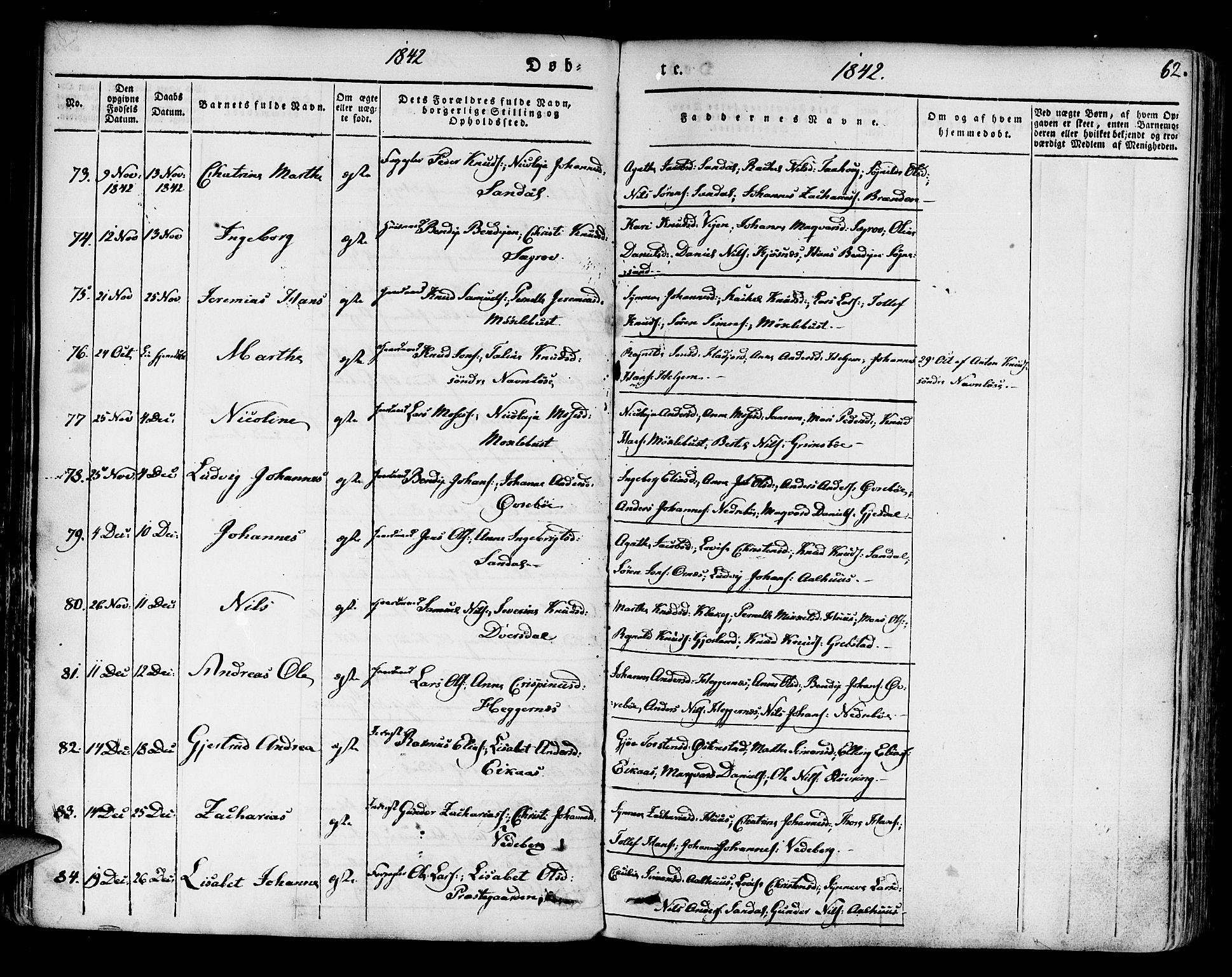 SAB, Jølster sokneprestembete, H/Haa/Haaa/L0009: Ministerialbok nr. A 9, 1833-1848, s. 62