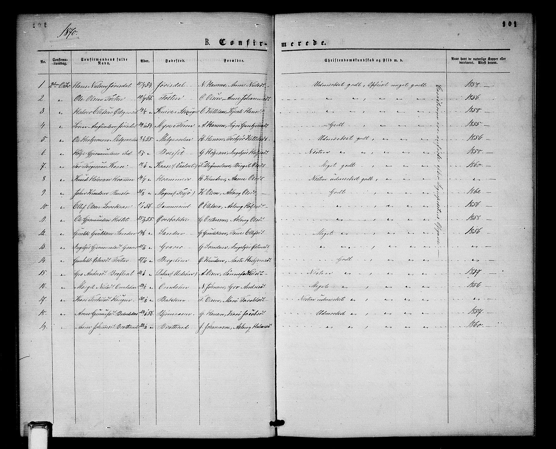 SAKO, Gransherad kirkebøker, G/Gb/L0002: Klokkerbok nr. II 2, 1860-1886, s. 101