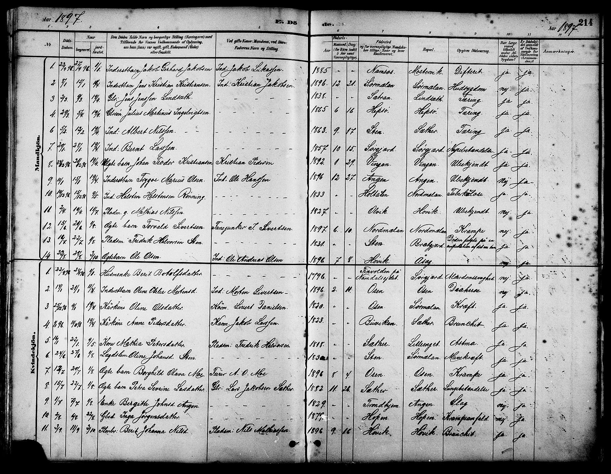 SAT, Ministerialprotokoller, klokkerbøker og fødselsregistre - Sør-Trøndelag, 658/L0726: Klokkerbok nr. 658C02, 1883-1908, s. 214