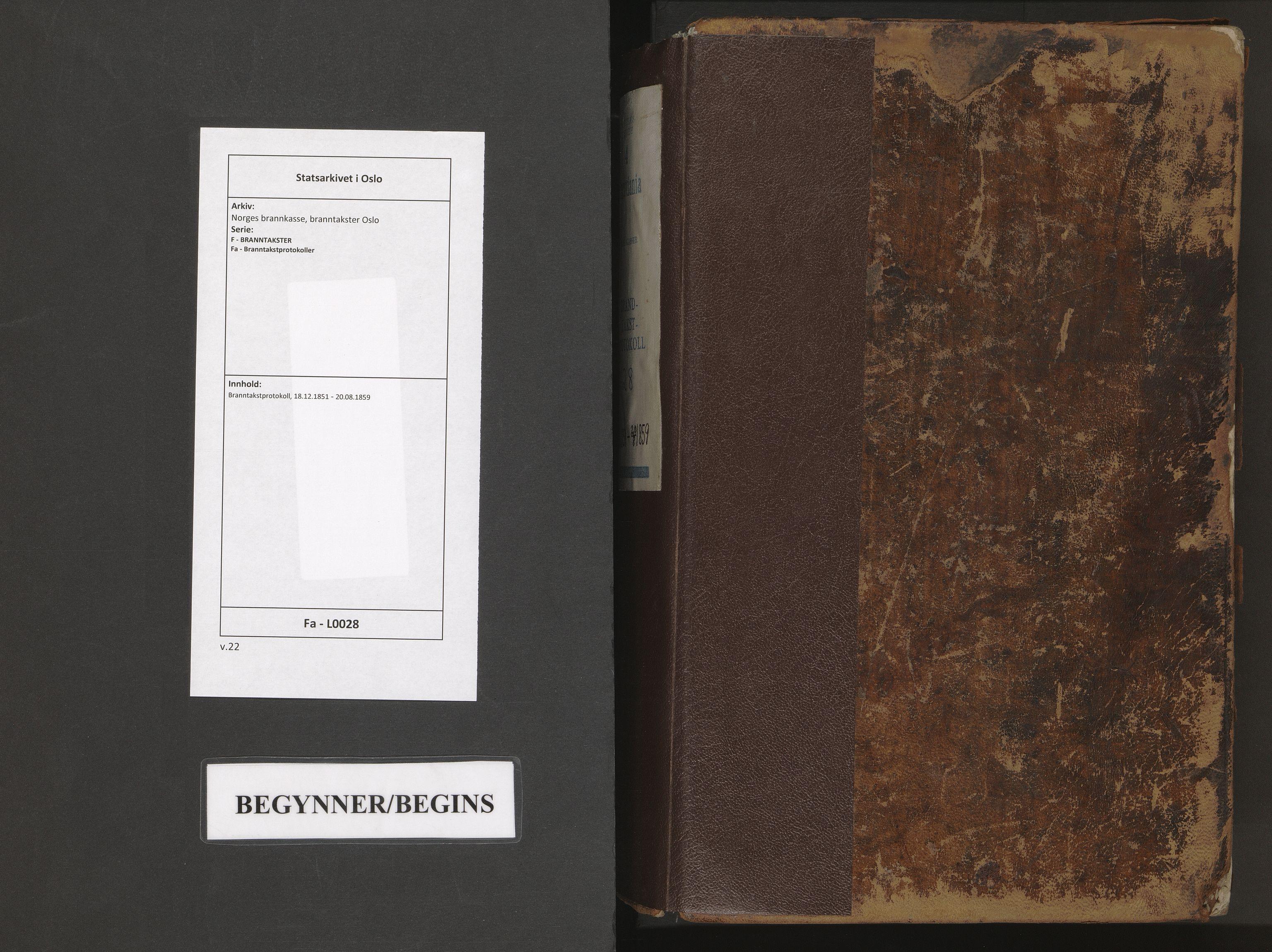 SAO, Norges brannkasse, branntakster Oslo, F/Fa/L0028: Branntakstprotokoll, 1851-1859