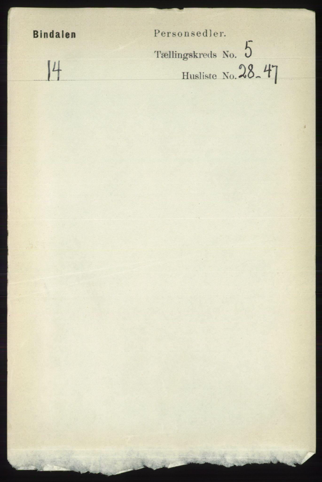 RA, Folketelling 1891 for 1811 Bindal herred, 1891, s. 1338