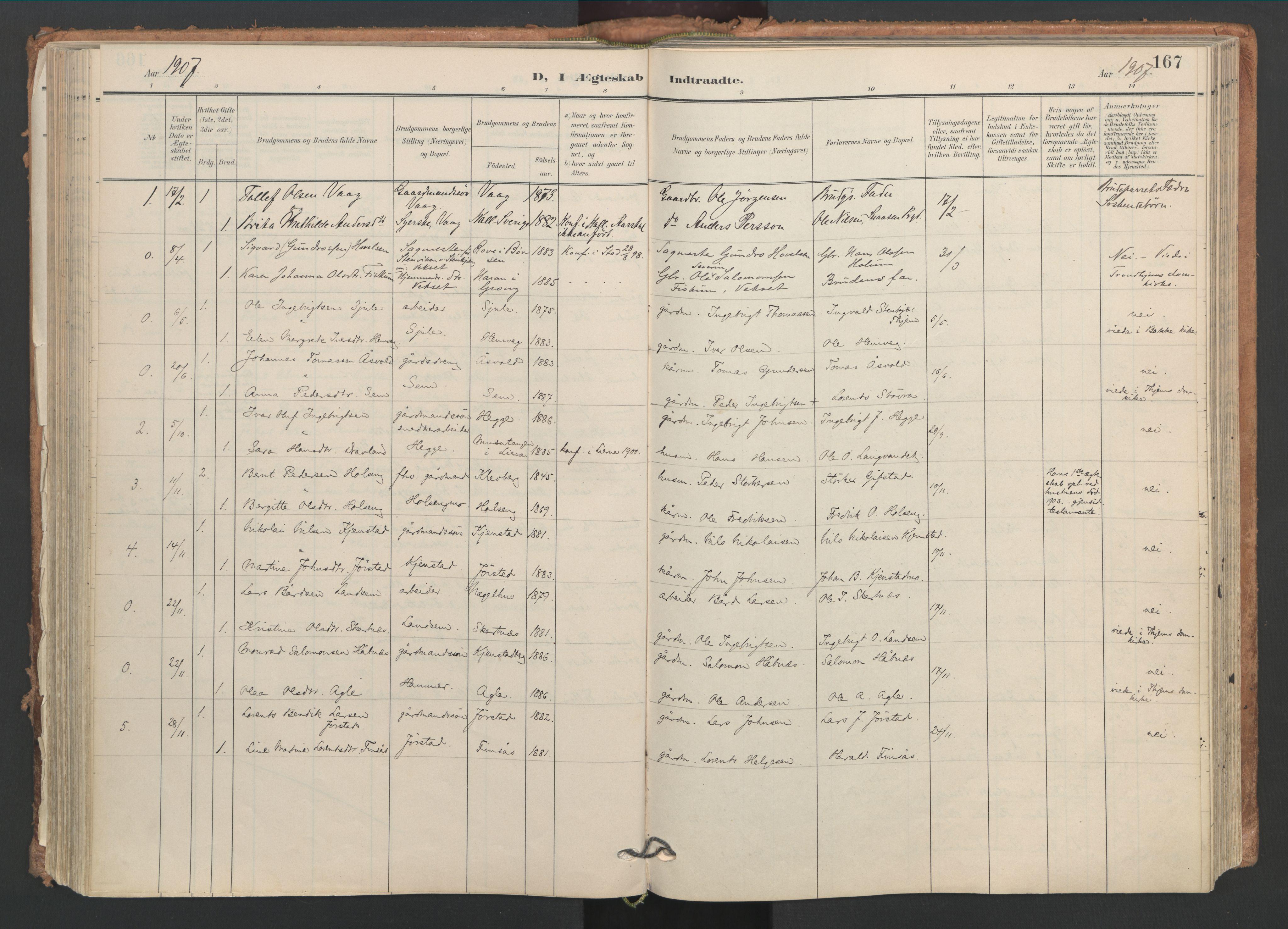 SAT, Ministerialprotokoller, klokkerbøker og fødselsregistre - Nord-Trøndelag, 749/L0477: Ministerialbok nr. 749A11, 1902-1927, s. 167
