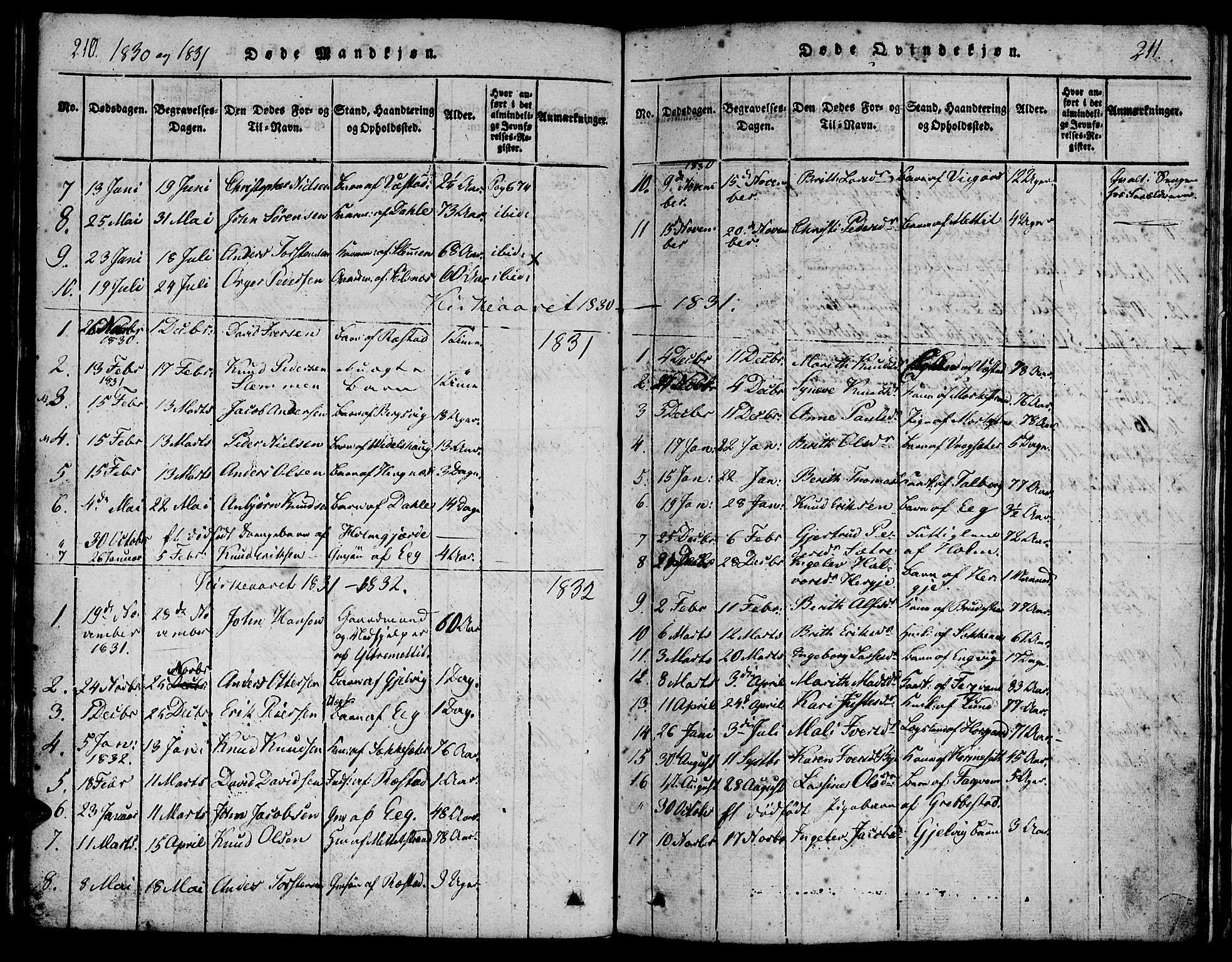 SAT, Ministerialprotokoller, klokkerbøker og fødselsregistre - Møre og Romsdal, 547/L0602: Ministerialbok nr. 547A04, 1818-1845, s. 210-211