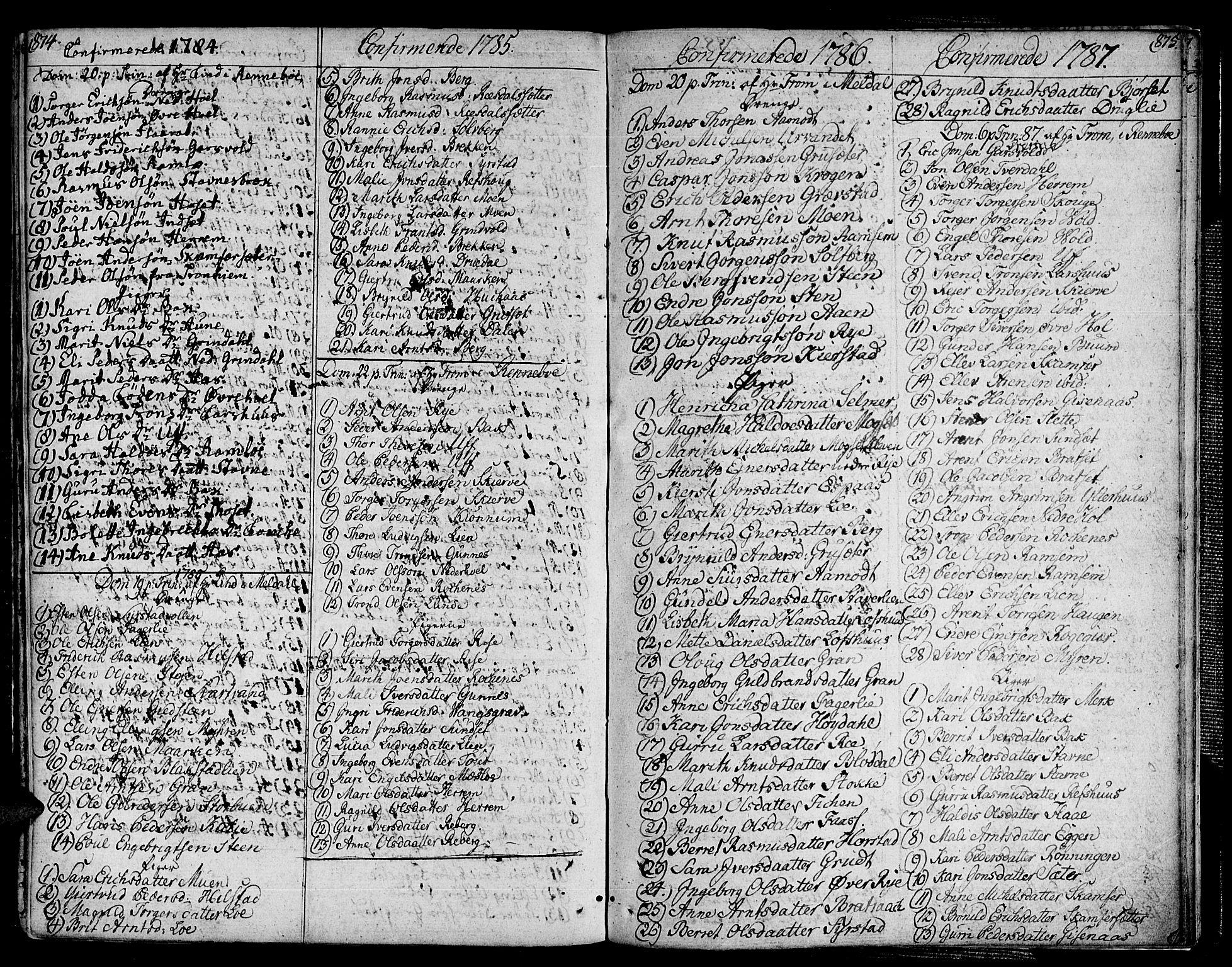 SAT, Ministerialprotokoller, klokkerbøker og fødselsregistre - Sør-Trøndelag, 672/L0852: Ministerialbok nr. 672A05, 1776-1815, s. 874-875