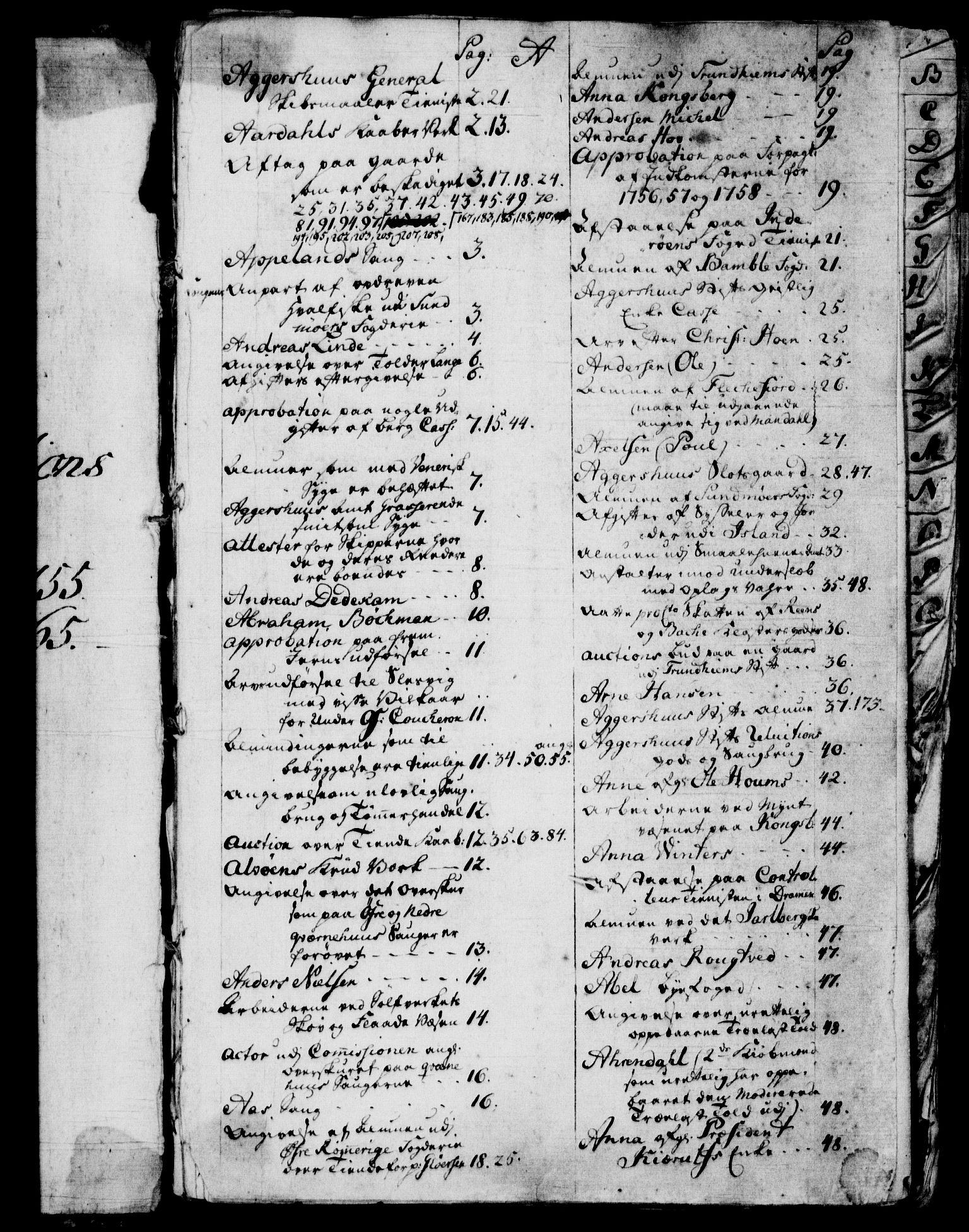 RA, Rentekammeret, Kammerkanselliet, G/Gf/Gfb/L0006: Register til norske relasjons- og resolusjonsprotokoller (merket RK 52.101), 1755-1765, s. upaginert