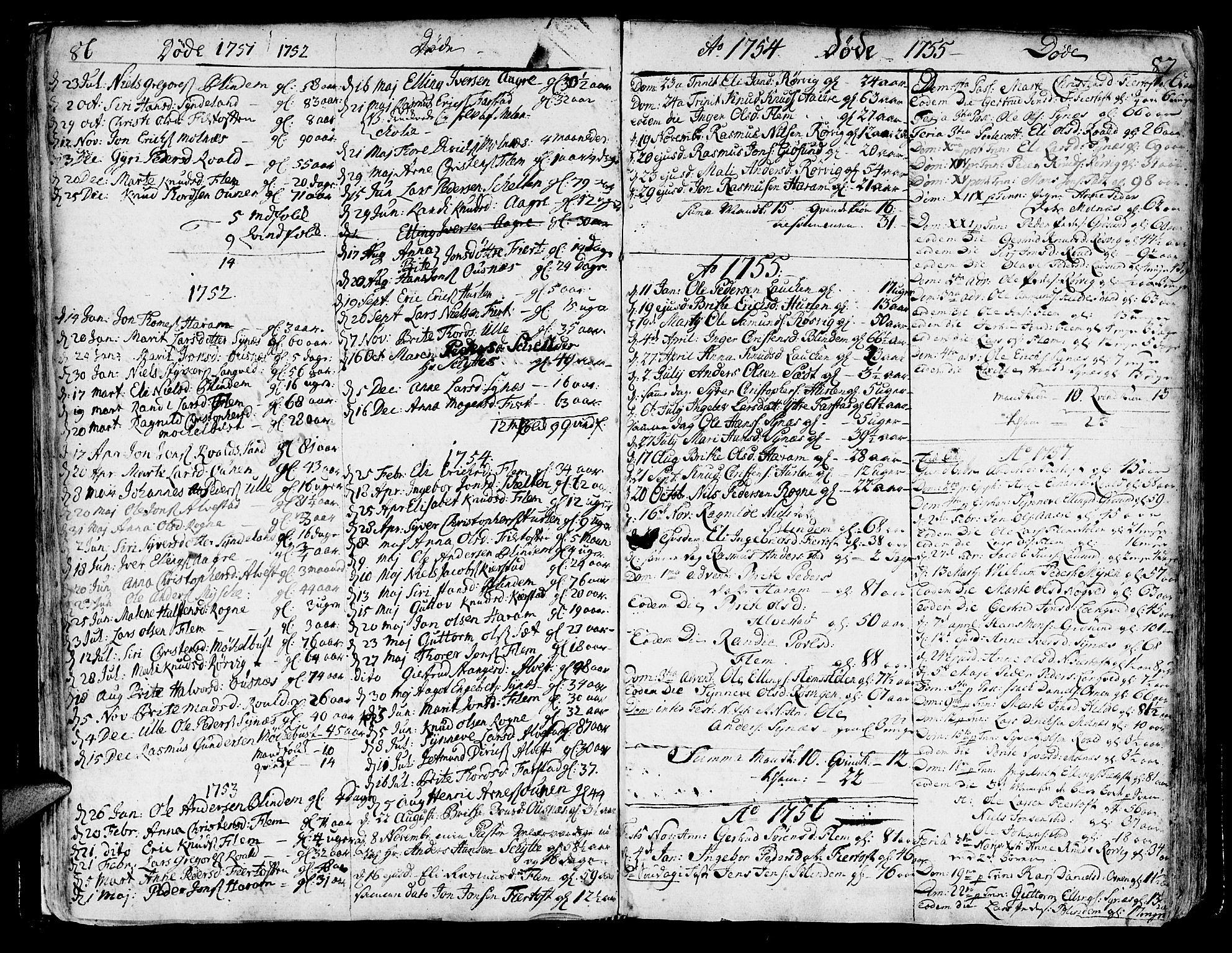 SAT, Ministerialprotokoller, klokkerbøker og fødselsregistre - Møre og Romsdal, 536/L0493: Ministerialbok nr. 536A02, 1739-1802, s. 86-87