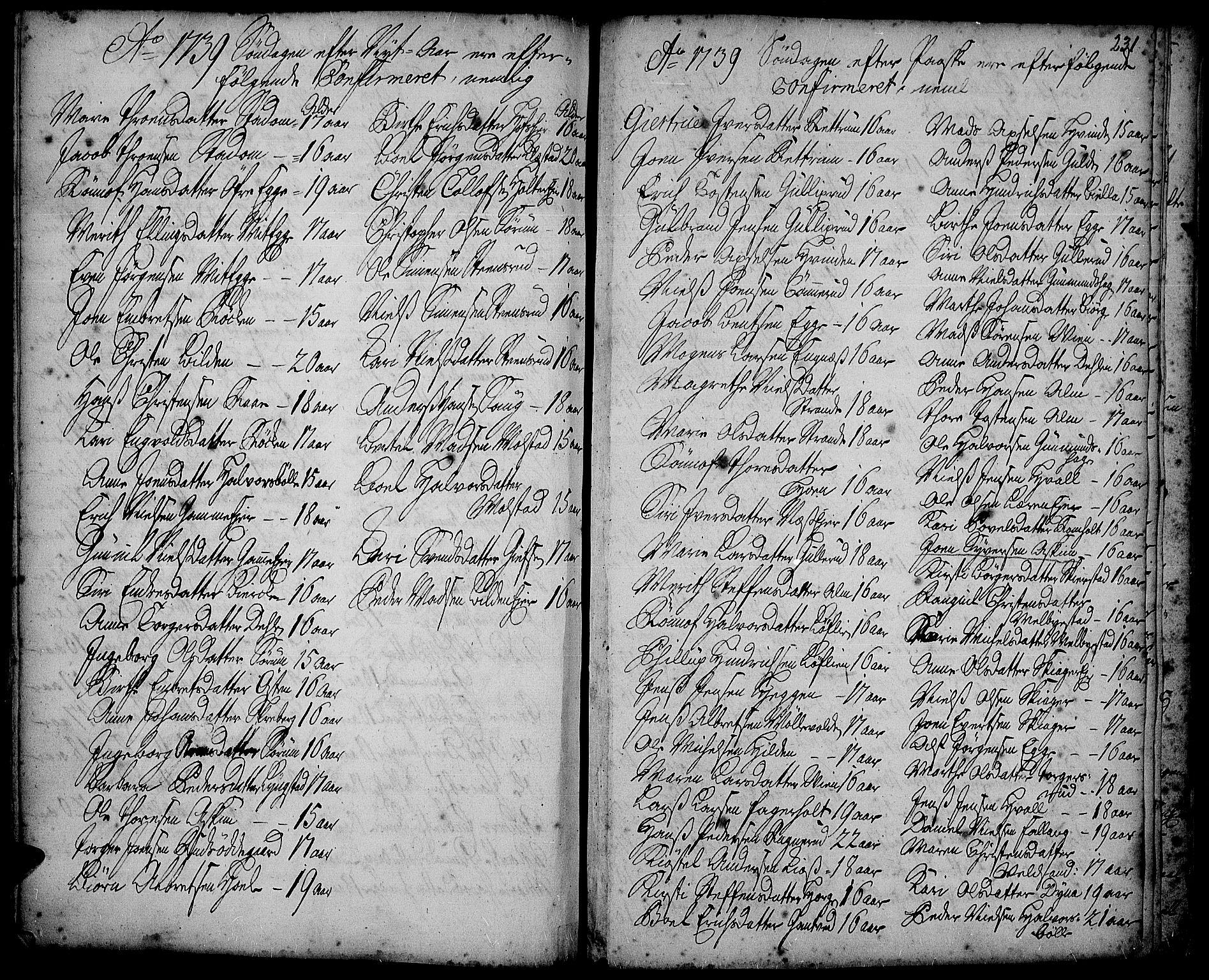 SAH, Gran prestekontor, Ministerialbok nr. 2, 1732-1744, s. 231