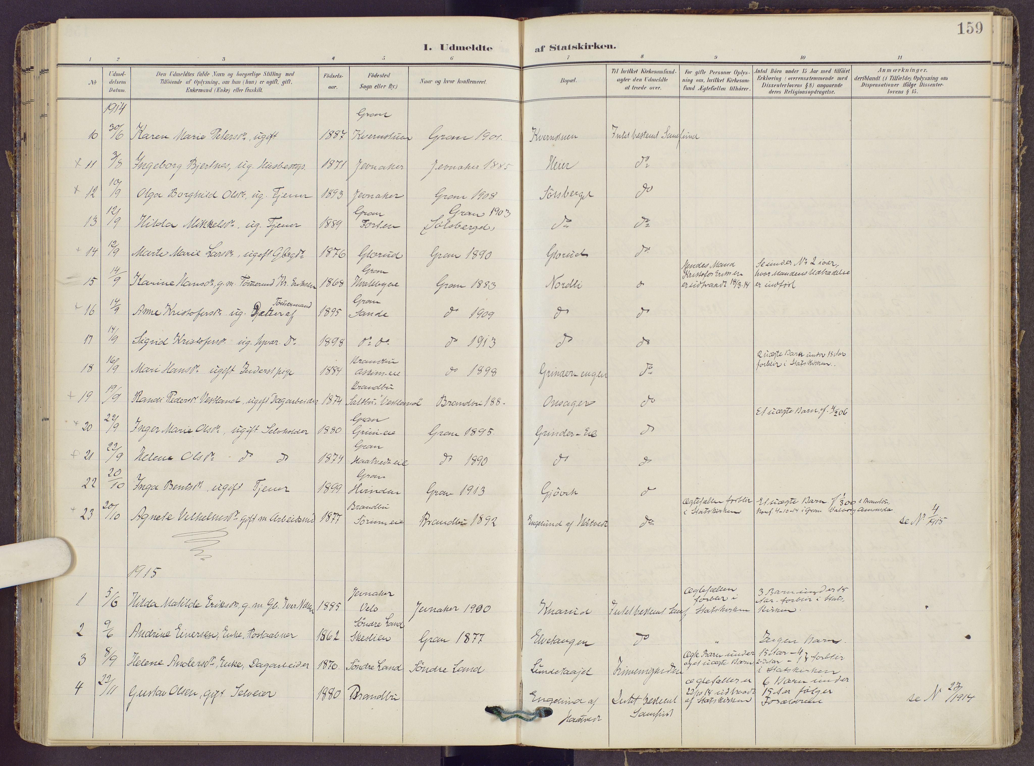 SAH, Gran prestekontor, Ministerialbok nr. 22, 1908-1918, s. 159