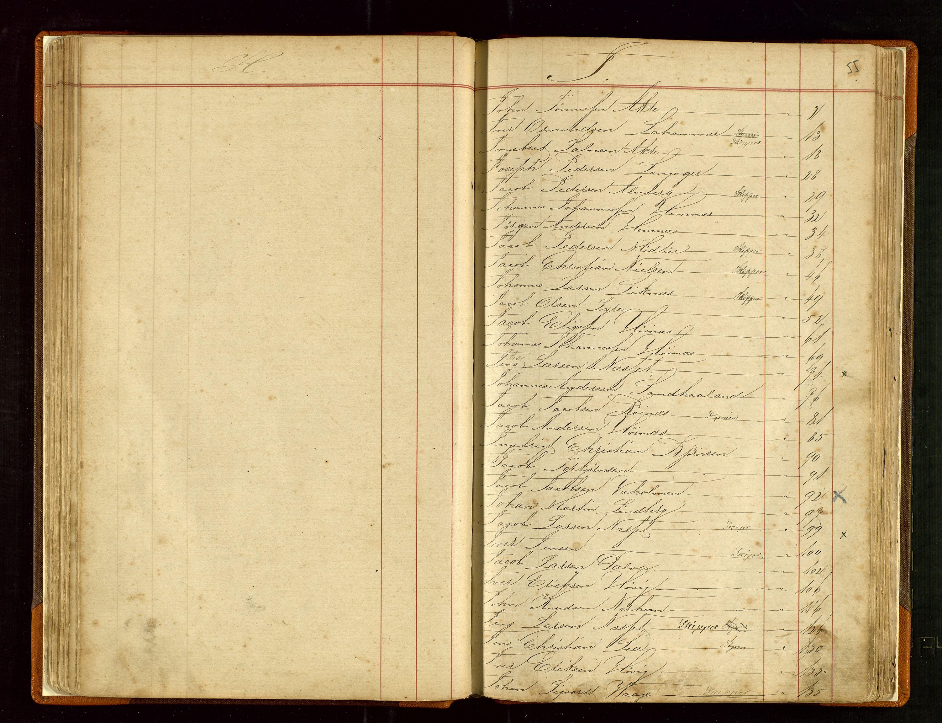SAST, Haugesund sjømannskontor, F/Fb/Fba/L0003: Navneregister med henvisning til rullenummer (fornavn) Haugesund krets, 1860-1948, s. 55