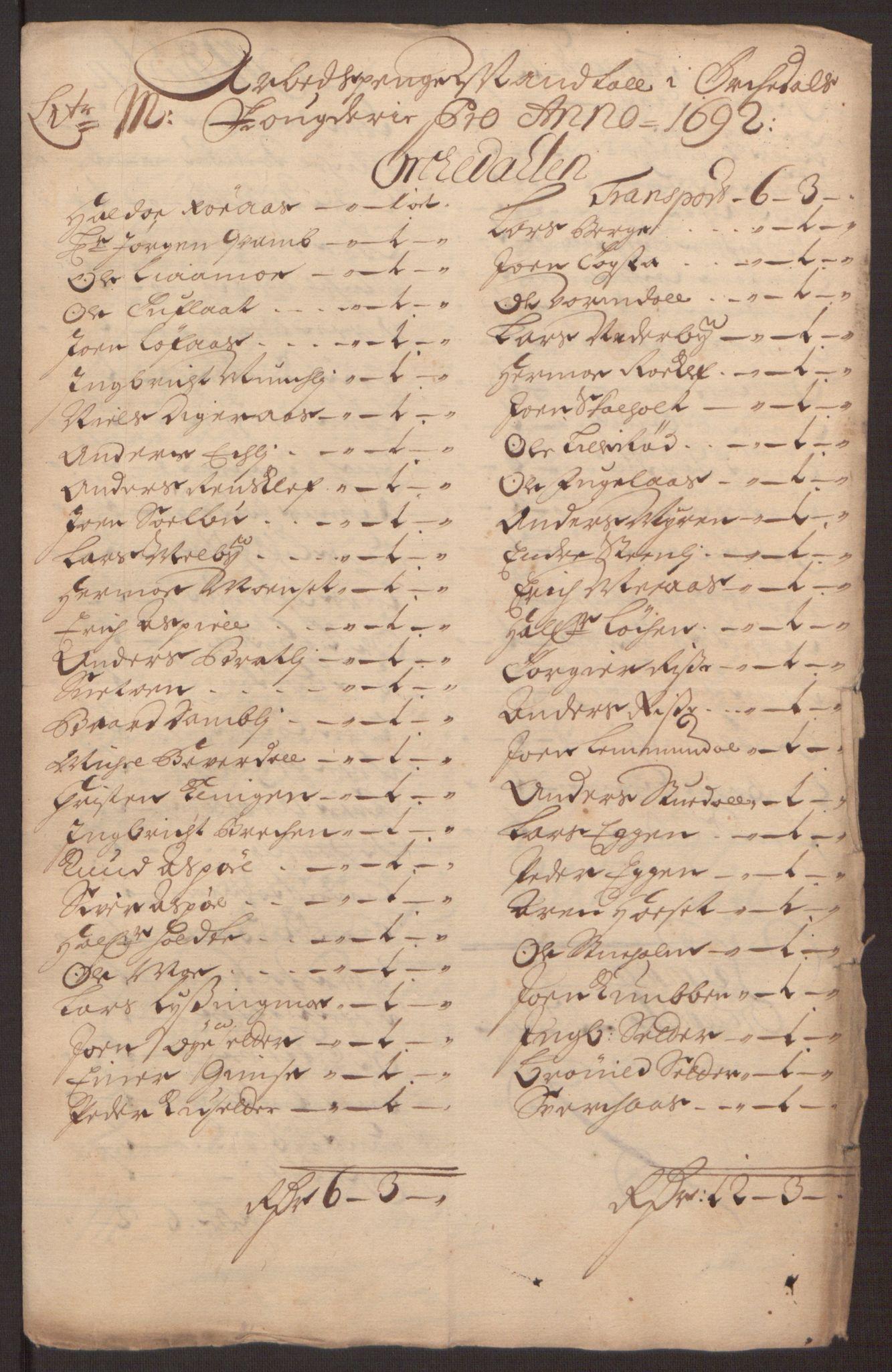 RA, Rentekammeret inntil 1814, Reviderte regnskaper, Fogderegnskap, R58/L3937: Fogderegnskap Orkdal, 1691-1692, s. 319