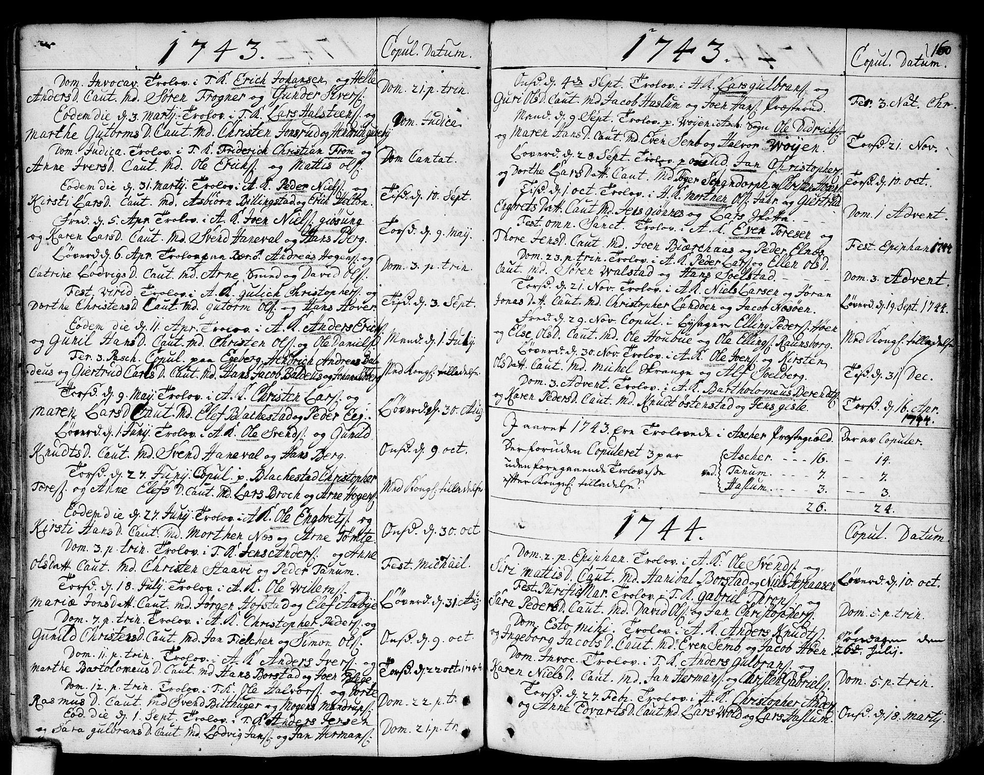 SAO, Asker prestekontor Kirkebøker, F/Fa/L0002: Ministerialbok nr. I 2, 1733-1766, s. 160