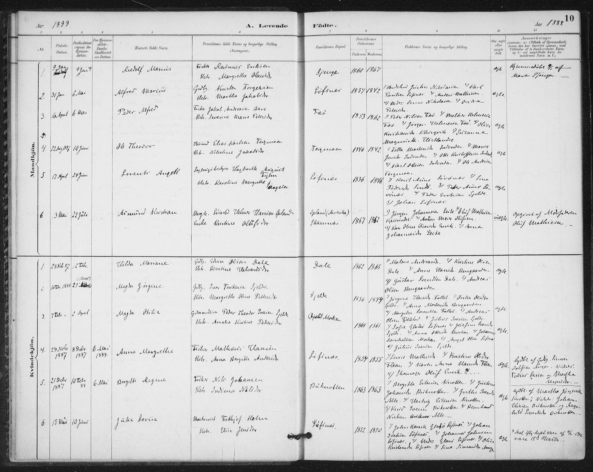 SAT, Ministerialprotokoller, klokkerbøker og fødselsregistre - Nord-Trøndelag, 772/L0603: Ministerialbok nr. 772A01, 1885-1912, s. 10