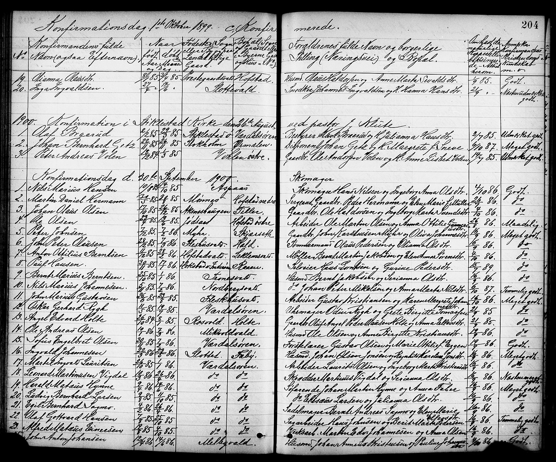 SAT, Ministerialprotokoller, klokkerbøker og fødselsregistre - Nord-Trøndelag, 723/L0257: Klokkerbok nr. 723C05, 1890-1907, s. 204