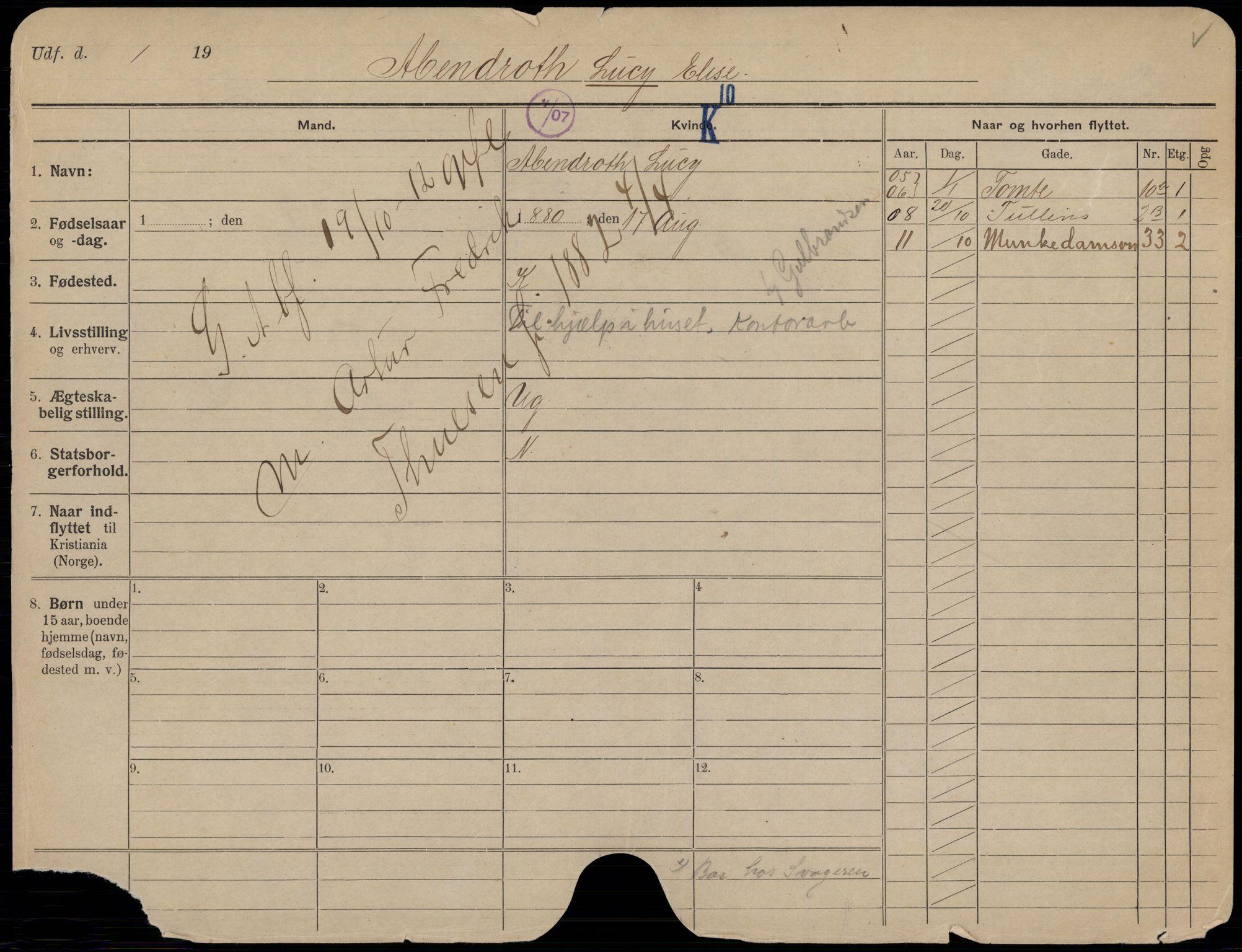 SAO, Oslo folkeregister, Registerkort, K/Kb/L0013: A - H, 1912