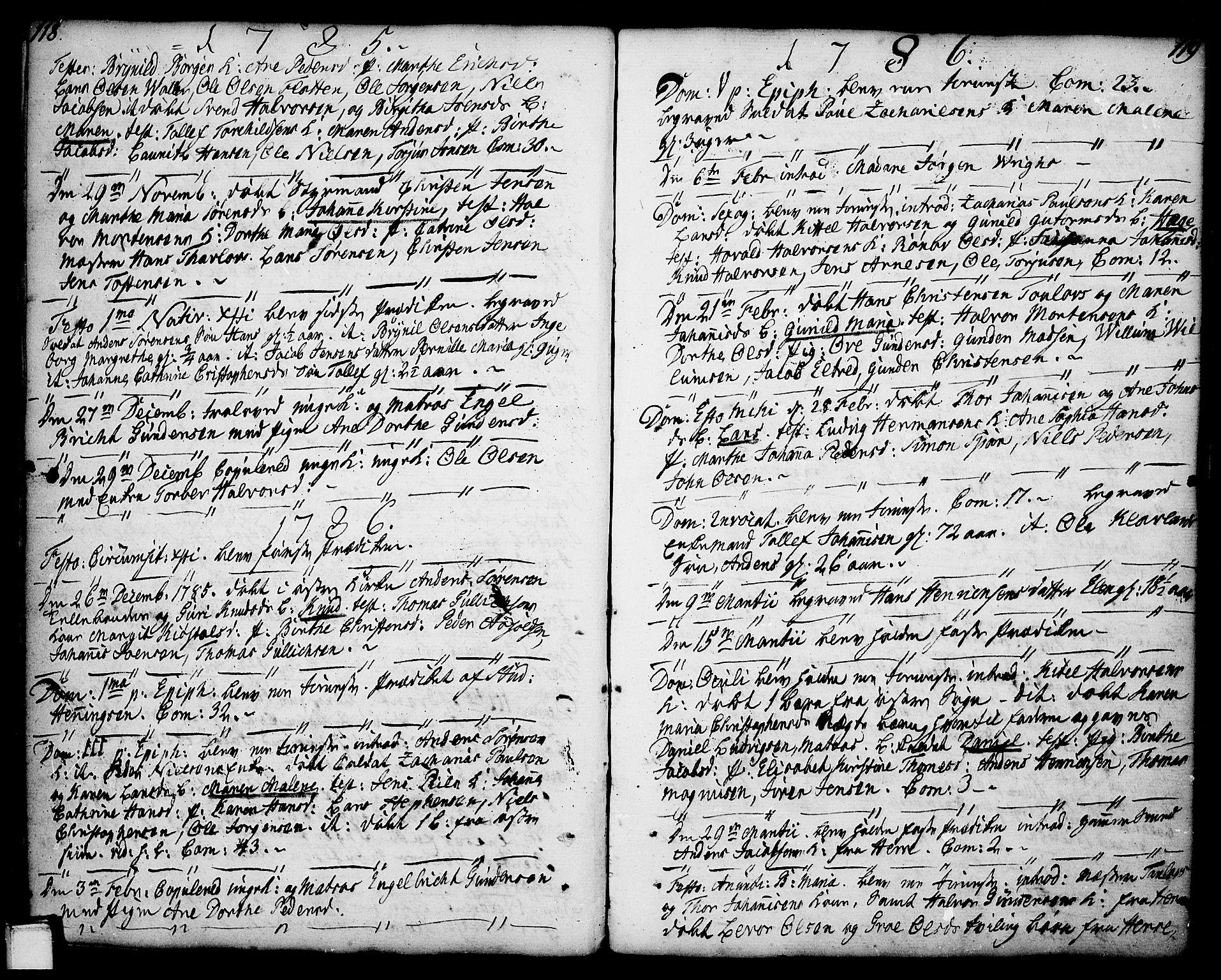 SAKO, Porsgrunn kirkebøker , F/Fa/L0001: Ministerialbok nr. 1, 1764-1814, s. 118-119