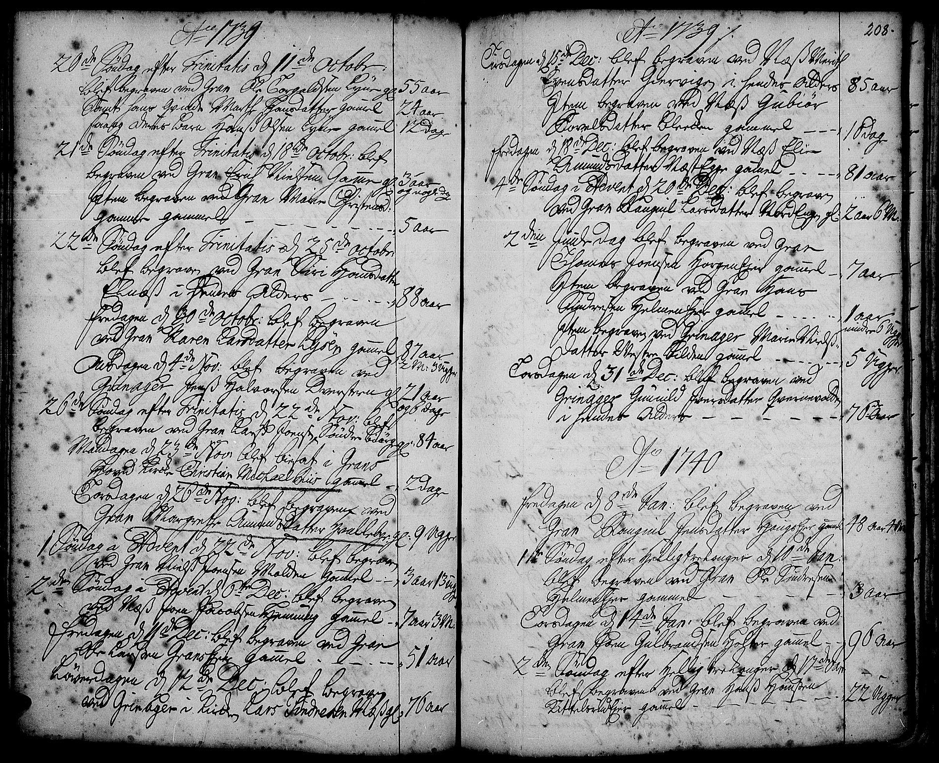 SAH, Gran prestekontor, Ministerialbok nr. 2, 1732-1744, s. 208