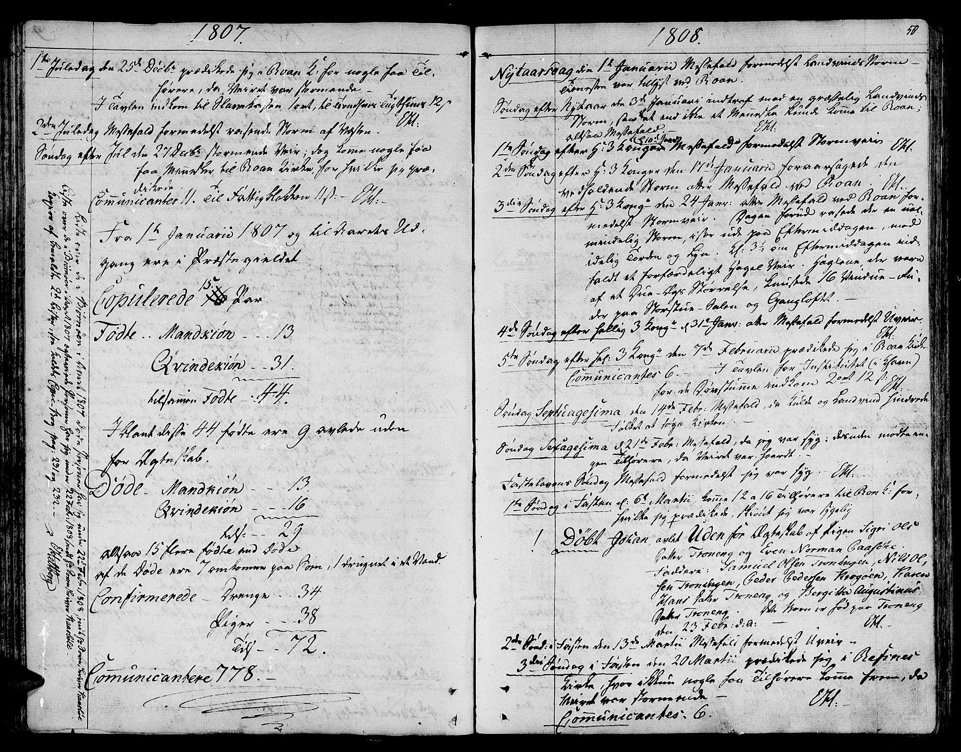 SAT, Ministerialprotokoller, klokkerbøker og fødselsregistre - Sør-Trøndelag, 657/L0701: Ministerialbok nr. 657A02, 1802-1831, s. 50