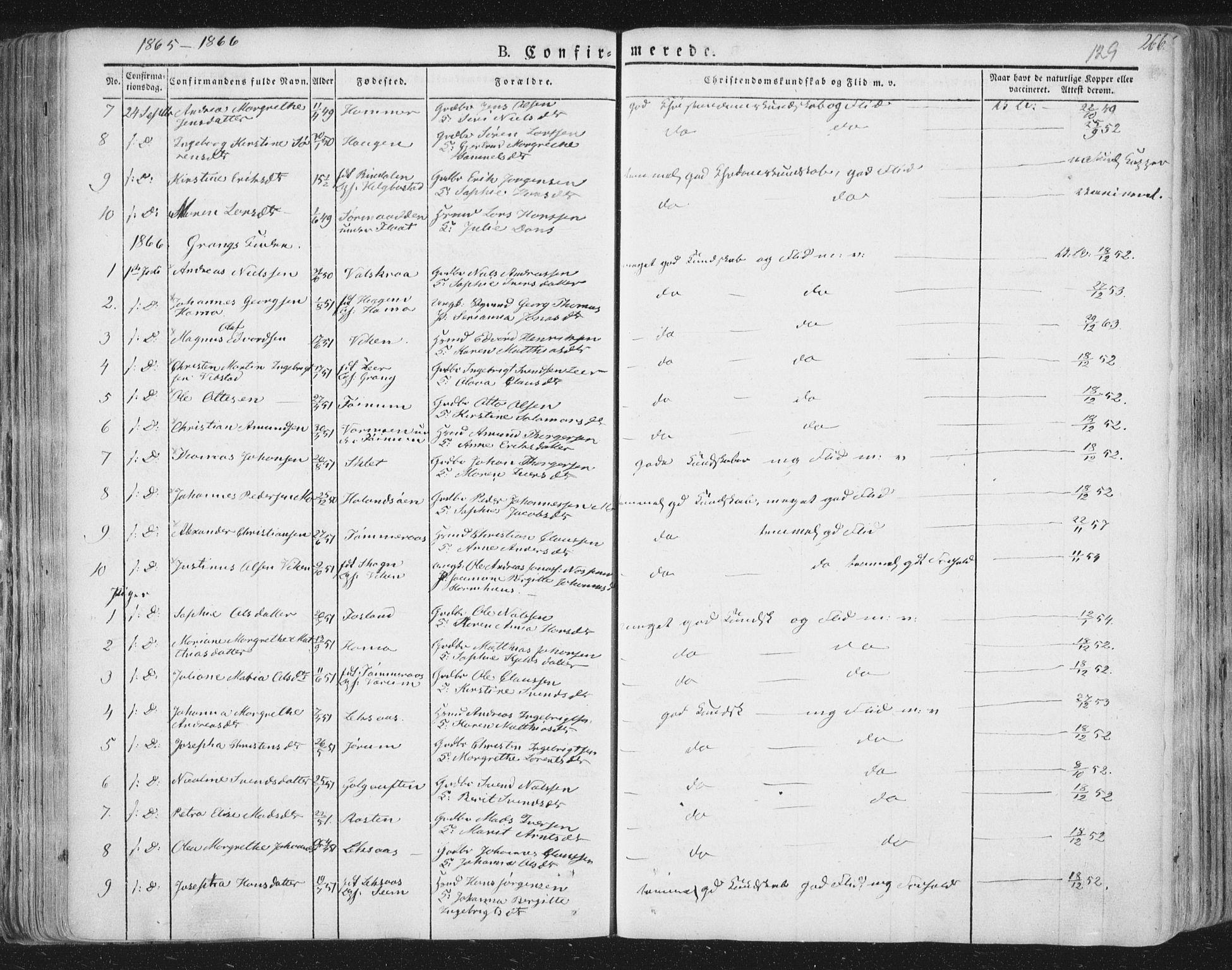 SAT, Ministerialprotokoller, klokkerbøker og fødselsregistre - Nord-Trøndelag, 758/L0513: Ministerialbok nr. 758A02 /1, 1839-1868, s. 129