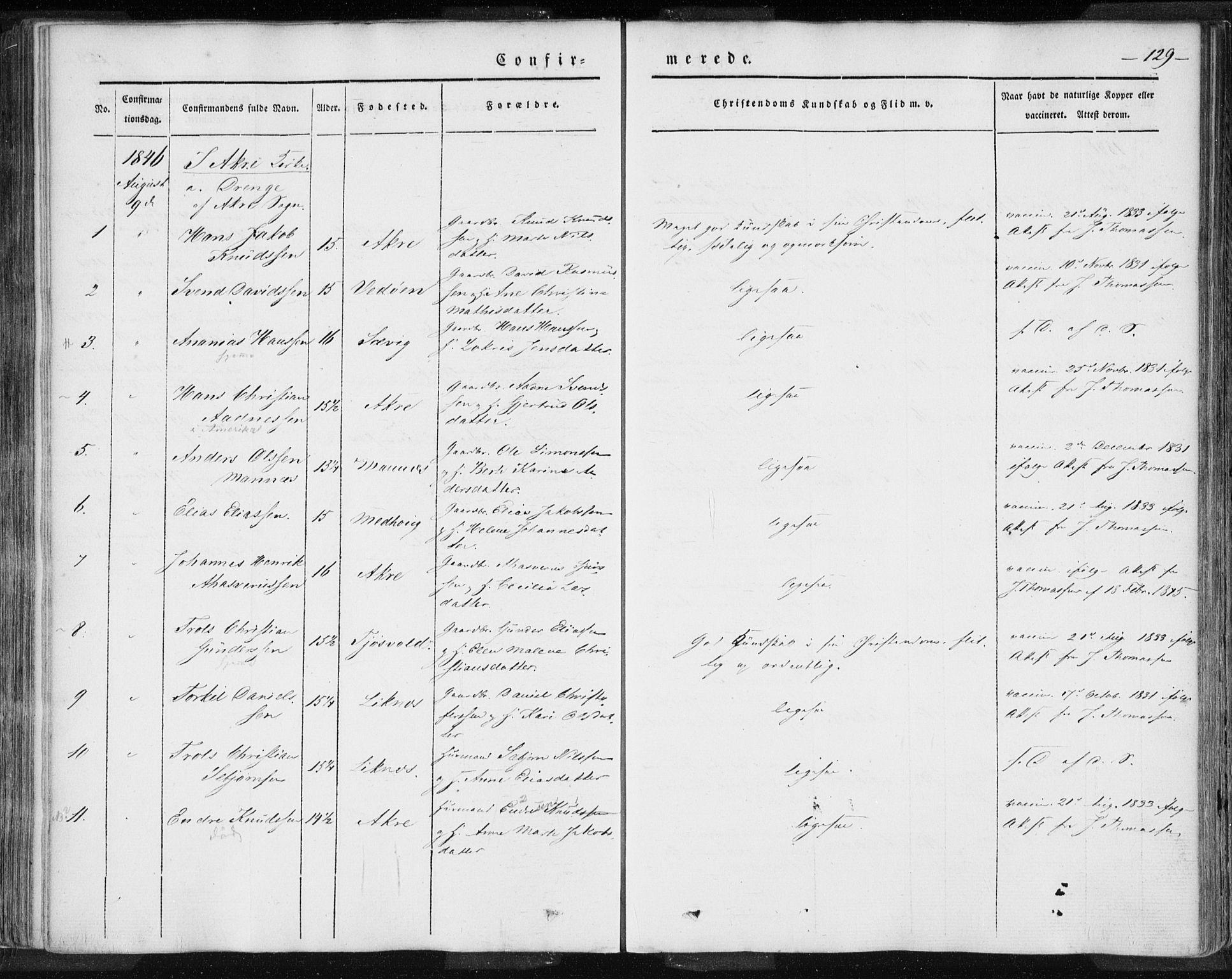 SAST, Skudenes sokneprestkontor, H/Ha/Haa/L0002: Ministerialbok nr. A 2.1, 1841-1846, s. 129