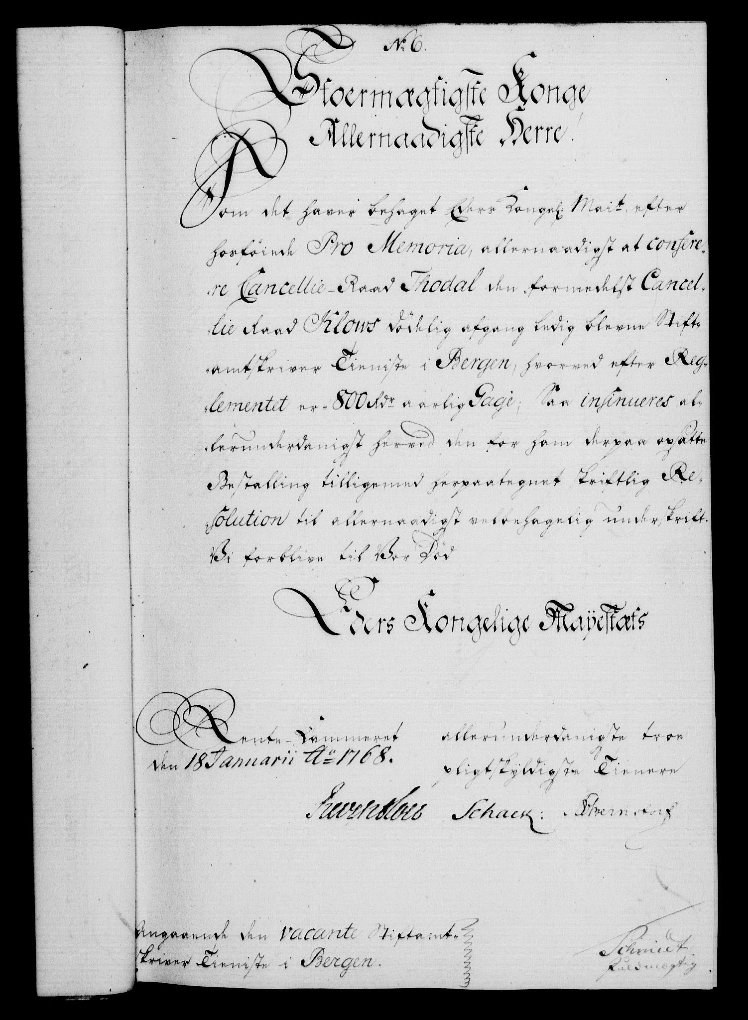 RA, Rentekammeret, Kammerkanselliet, G/Gf/Gfa/L0050: Norsk relasjons- og resolusjonsprotokoll (merket RK 52.50), 1768, s. 47