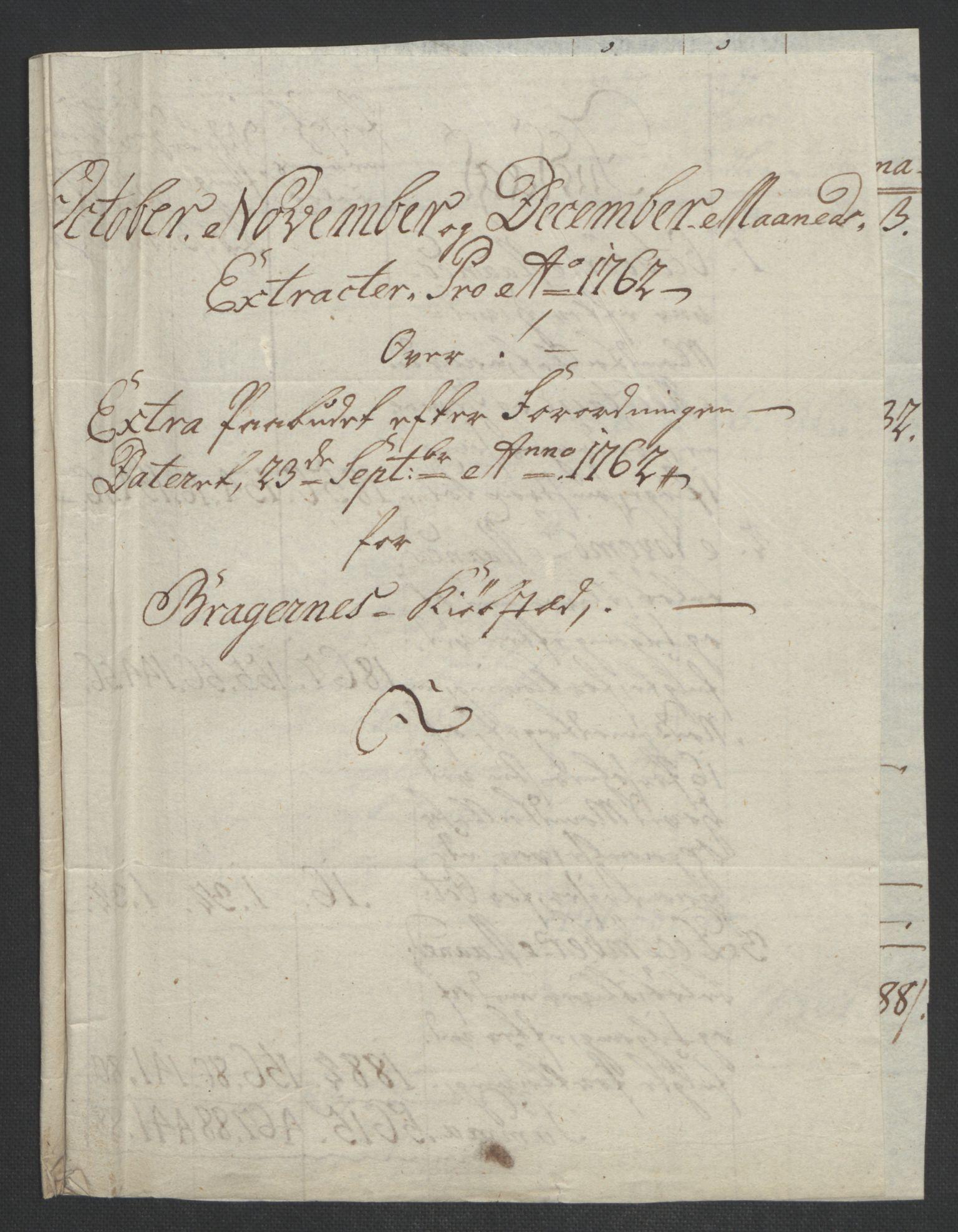 RA, Rentekammeret inntil 1814, Reviderte regnskaper, Byregnskaper, R/Rf/L0119: [F2] Kontribusjonsregnskap, 1762-1767, s. 52