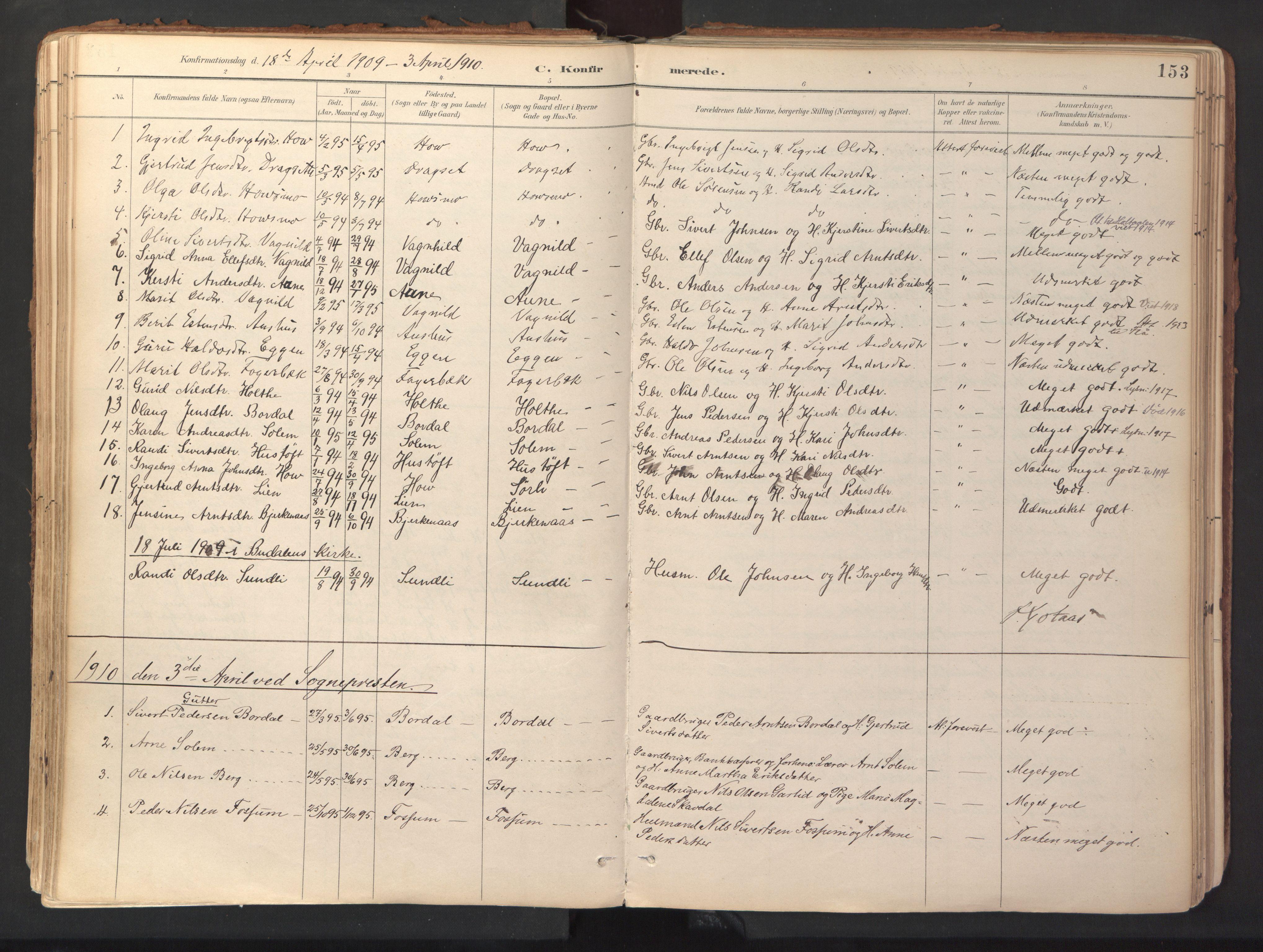 SAT, Ministerialprotokoller, klokkerbøker og fødselsregistre - Sør-Trøndelag, 689/L1041: Ministerialbok nr. 689A06, 1891-1923, s. 153