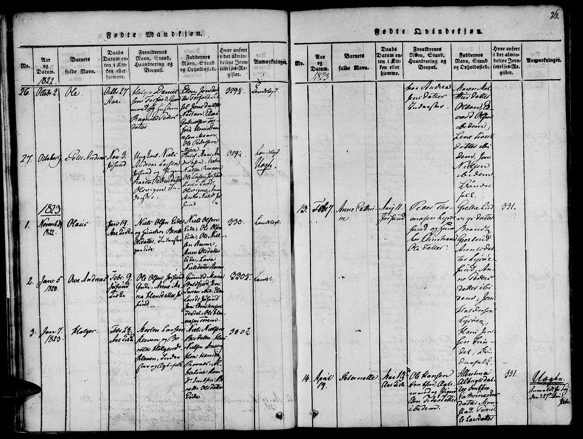 SAT, Ministerialprotokoller, klokkerbøker og fødselsregistre - Sør-Trøndelag, 655/L0675: Ministerialbok nr. 655A04, 1818-1830, s. 26