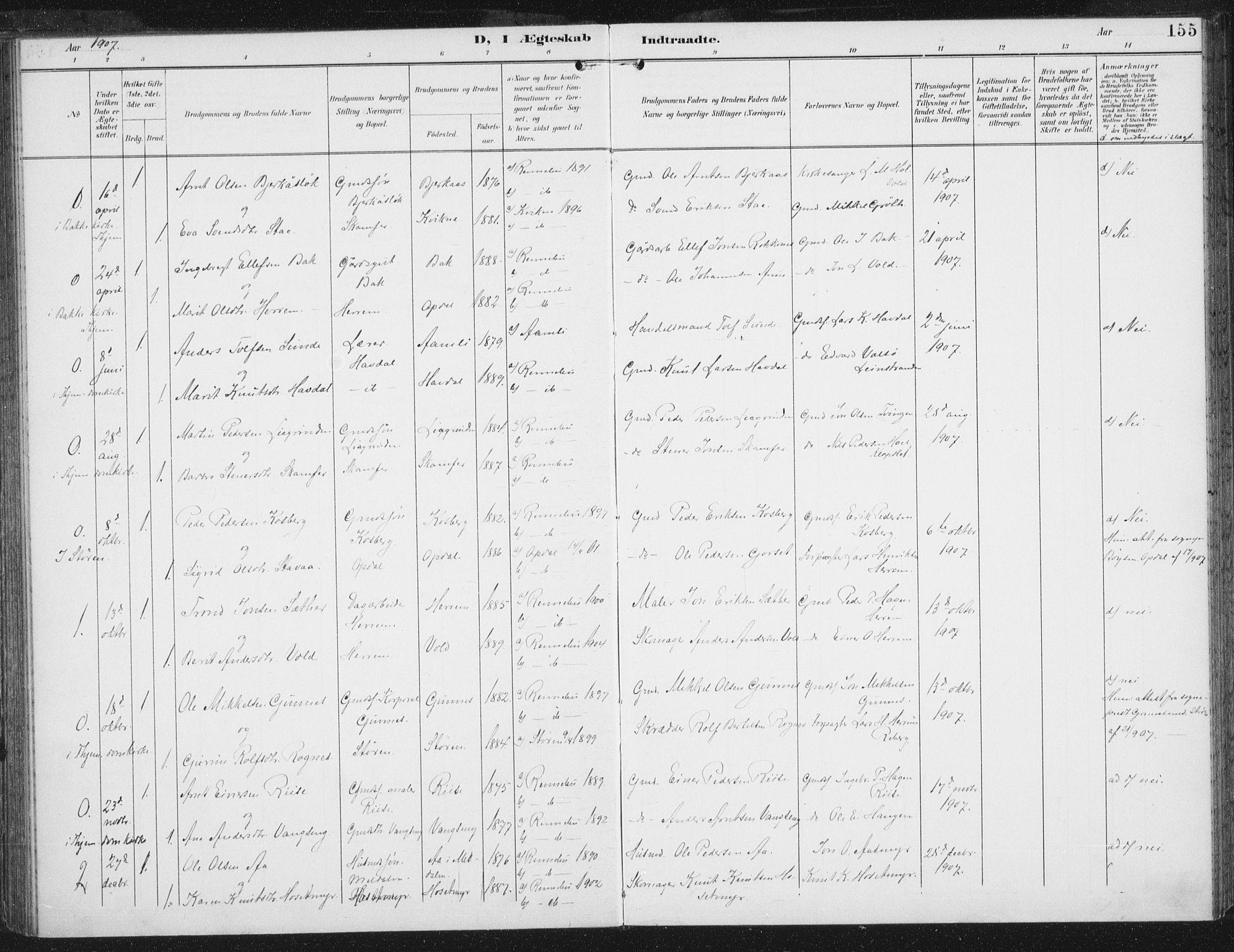 SAT, Ministerialprotokoller, klokkerbøker og fødselsregistre - Sør-Trøndelag, 674/L0872: Ministerialbok nr. 674A04, 1897-1907, s. 155
