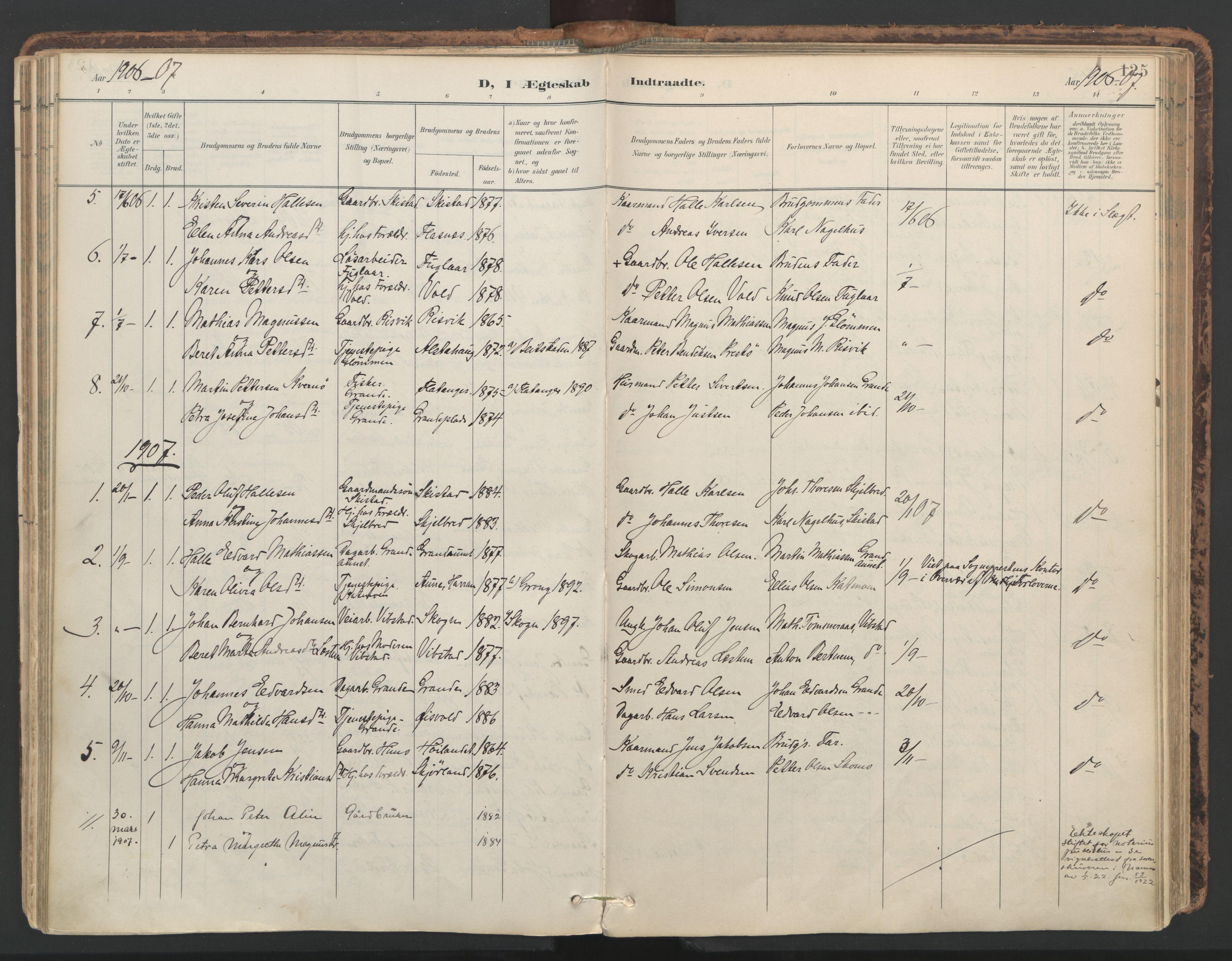SAT, Ministerialprotokoller, klokkerbøker og fødselsregistre - Nord-Trøndelag, 764/L0556: Ministerialbok nr. 764A11, 1897-1924, s. 125