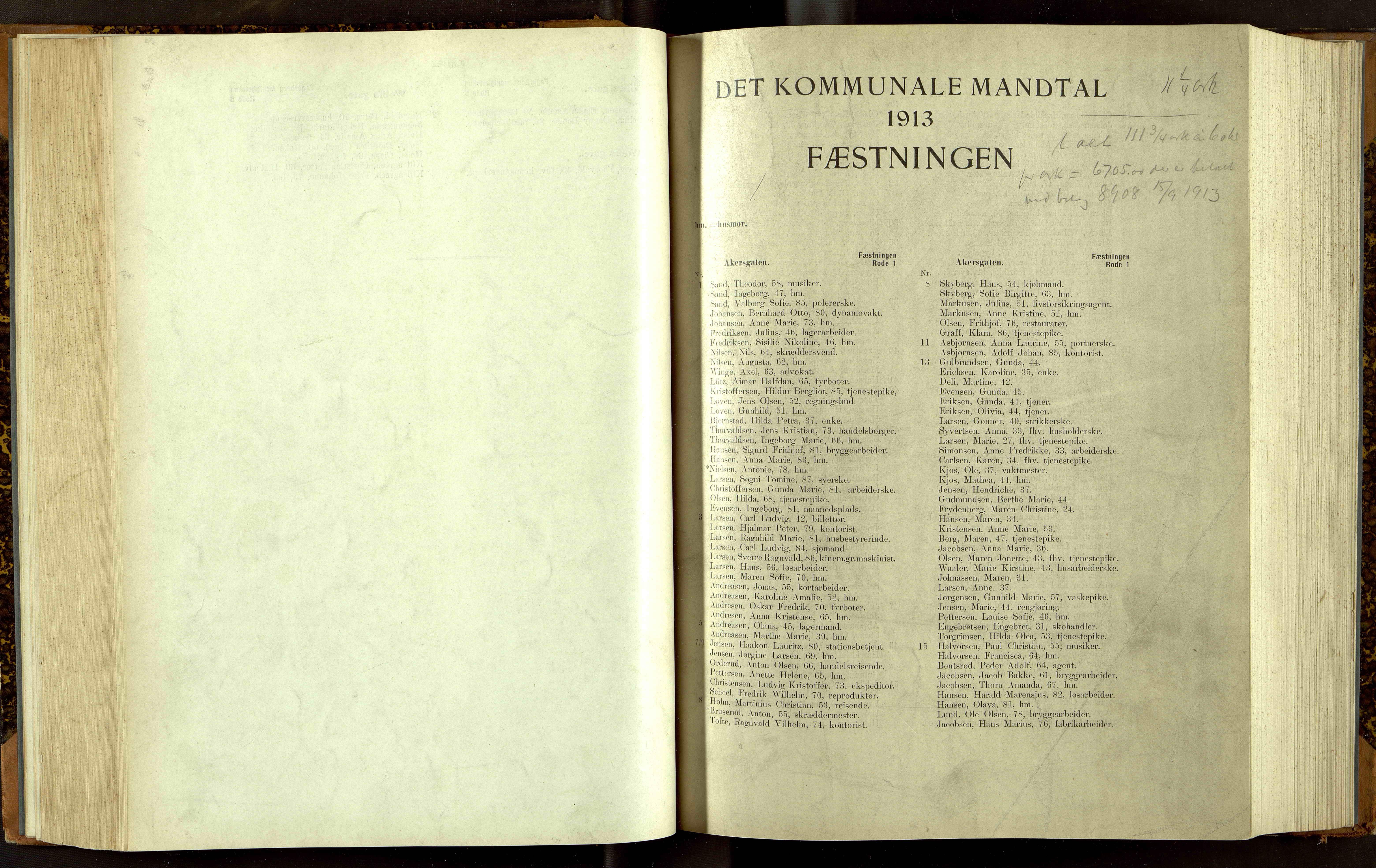 OBA, Folkeregisteret ( Valgstyret ), 1913, s. 3001