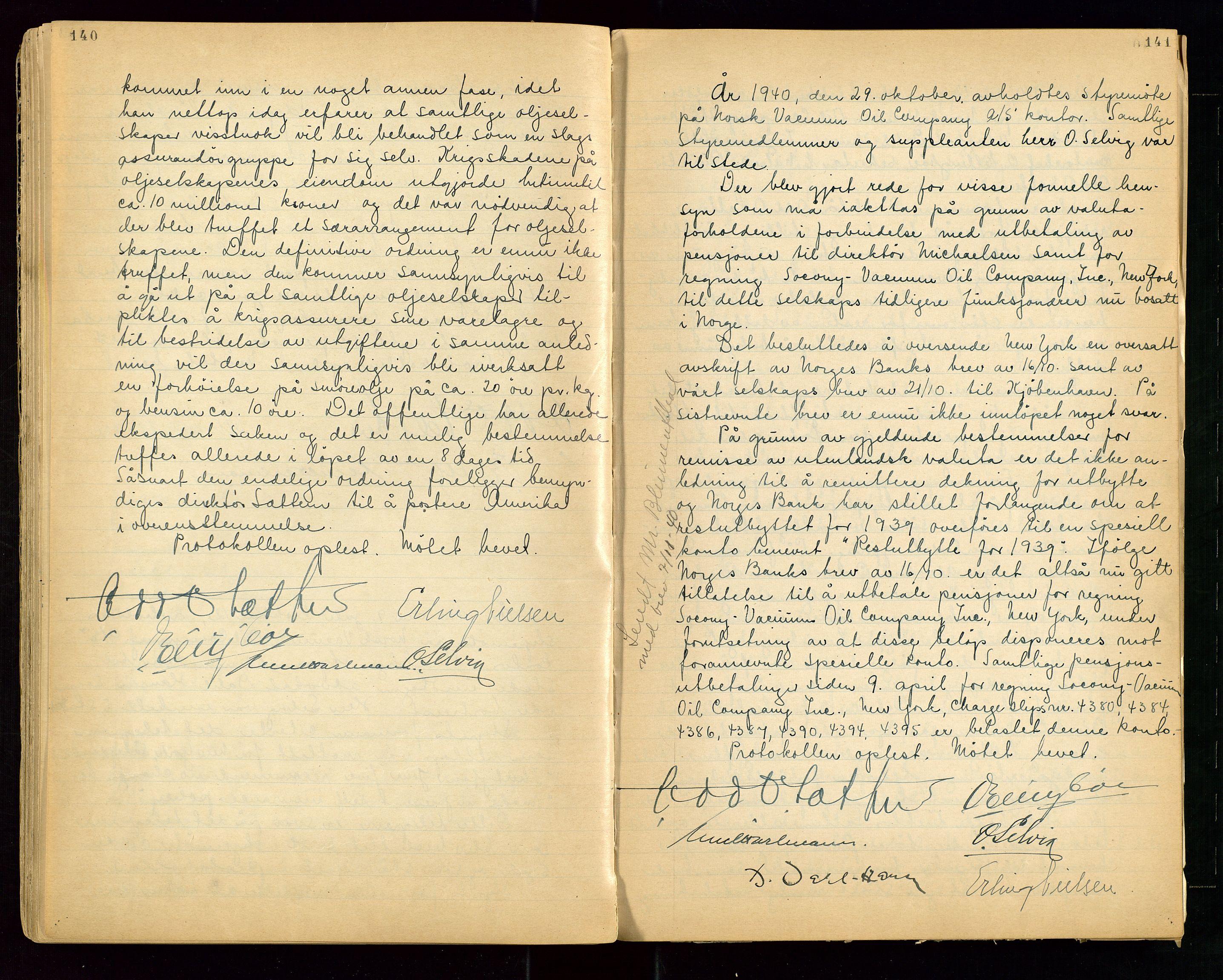 """SAST, PA 1513 - Norsk Vacuum Oil Company A/S, A/L0001: """"Generalforsamlings og styreprotokoll"""" fra 27/4-1918 til 6/4-1949, 1918-1949, s. 140-141"""