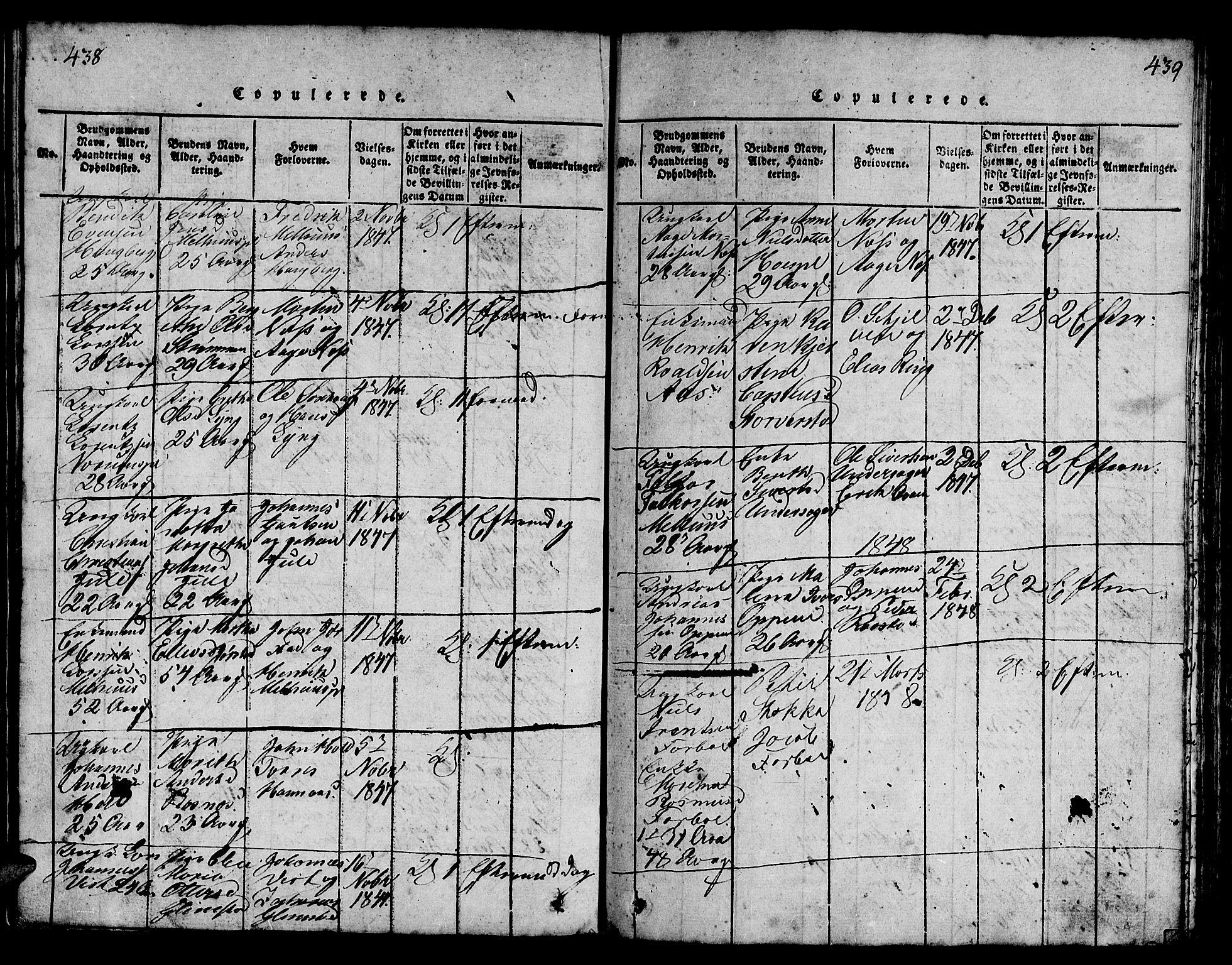 SAT, Ministerialprotokoller, klokkerbøker og fødselsregistre - Nord-Trøndelag, 730/L0298: Klokkerbok nr. 730C01, 1816-1849, s. 438-439