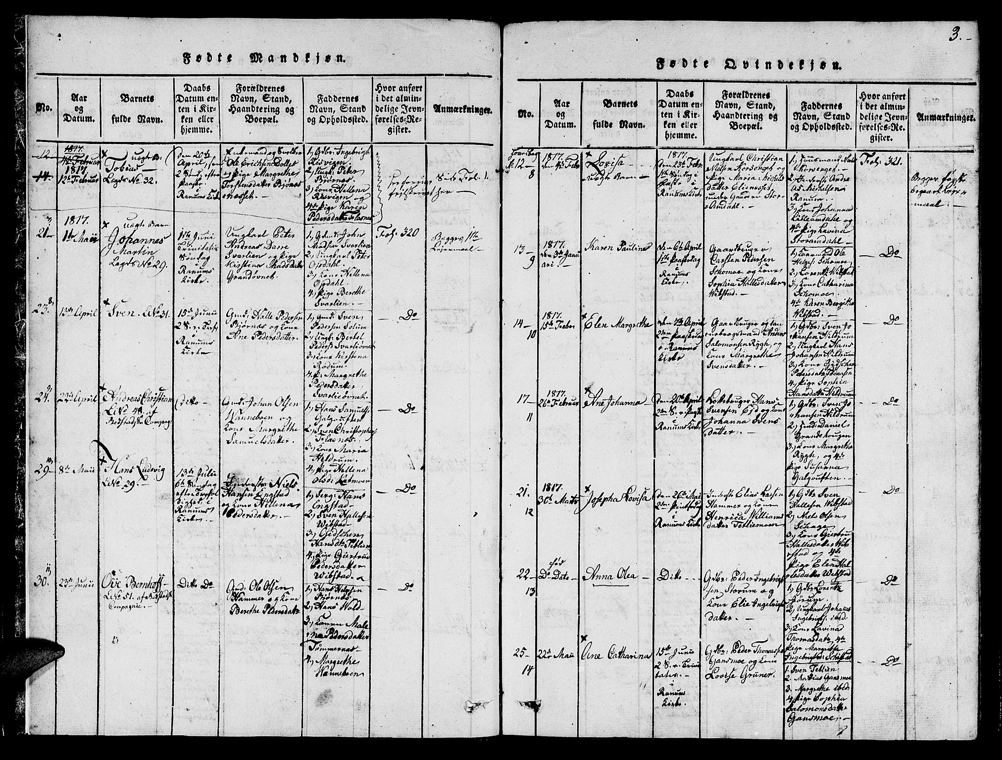 SAT, Ministerialprotokoller, klokkerbøker og fødselsregistre - Nord-Trøndelag, 764/L0546: Ministerialbok nr. 764A06 /1, 1816-1823, s. 3