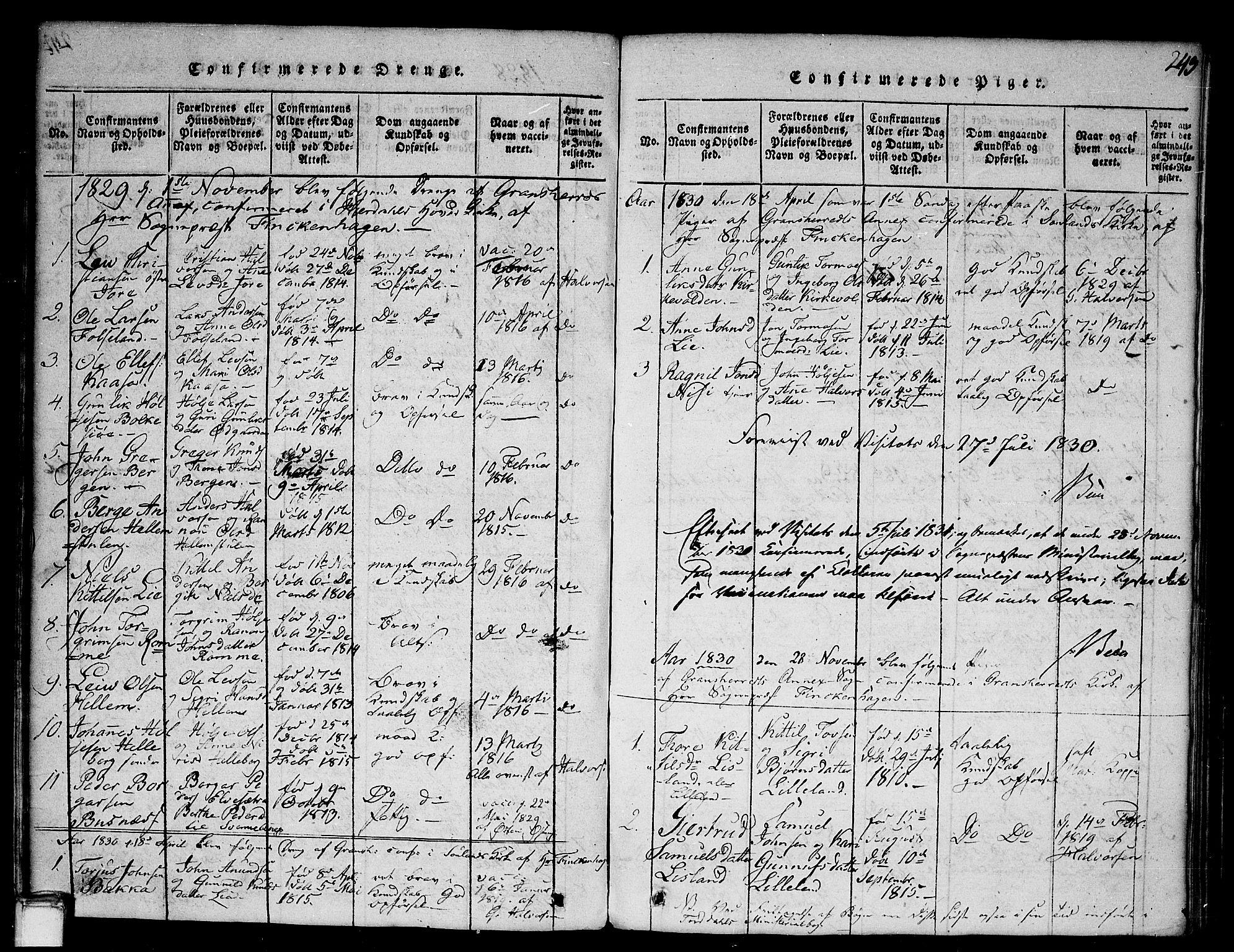SAKO, Gransherad kirkebøker, G/Ga/L0001: Klokkerbok nr. I 1, 1815-1842, s. 243