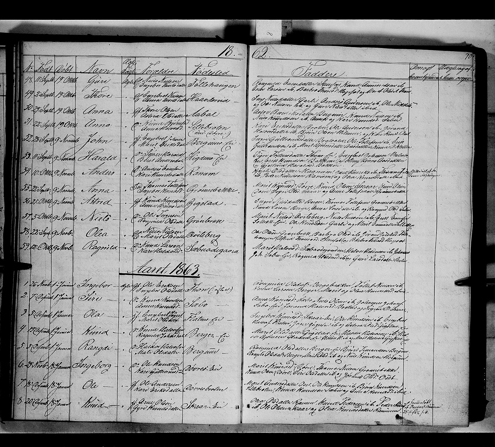 SAH, Nord-Aurdal prestekontor, Ministerialbok nr. 7, 1842-1863, s. 70